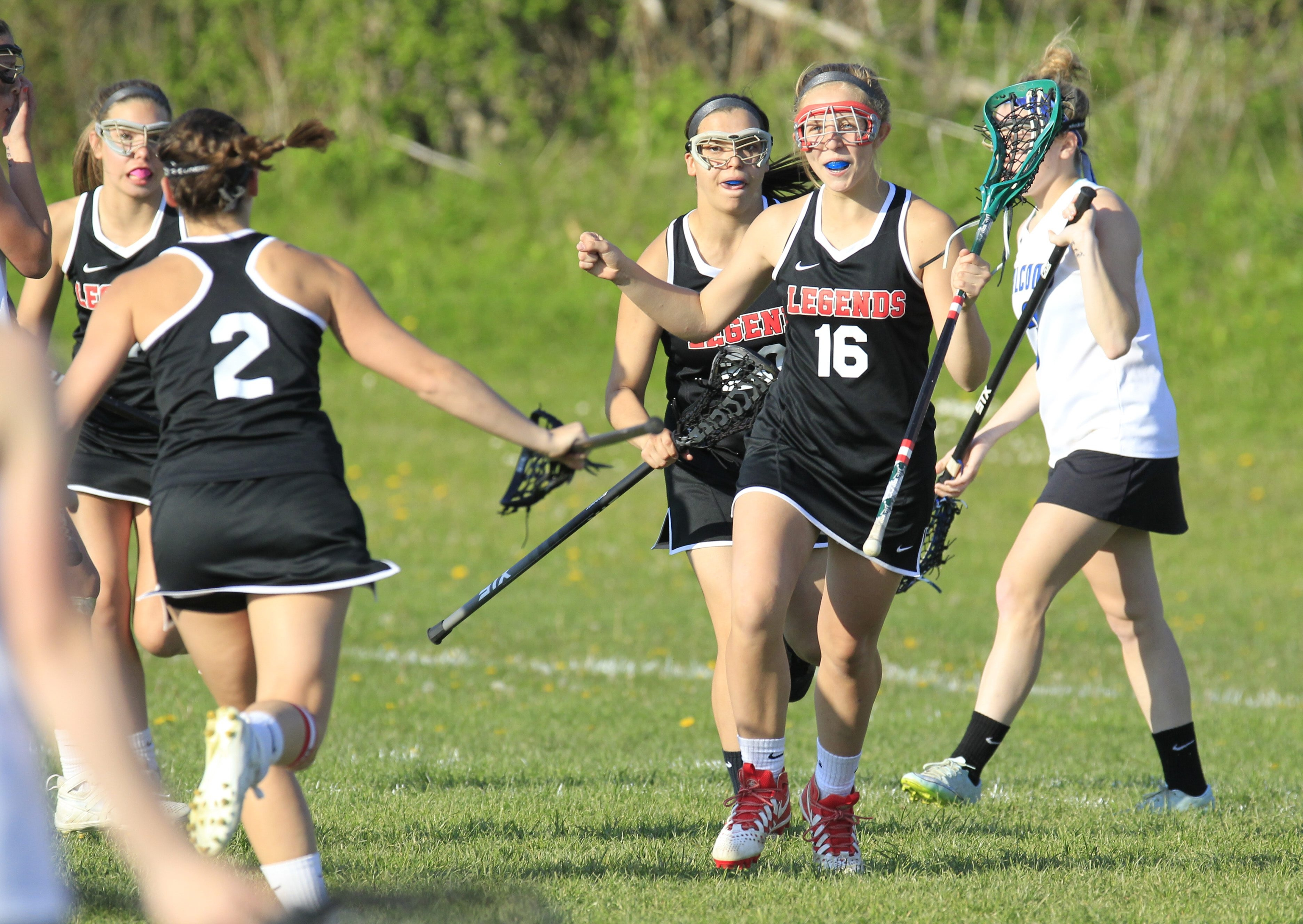 Lancaster's Maddie Mazur ceelbrates the game winning goal against Frontier at Frontier High School on Wednesday.