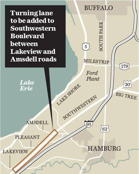 Map shows turning lane to be added to Southwestern Boulevard between Lakeview and Amsdell roads.