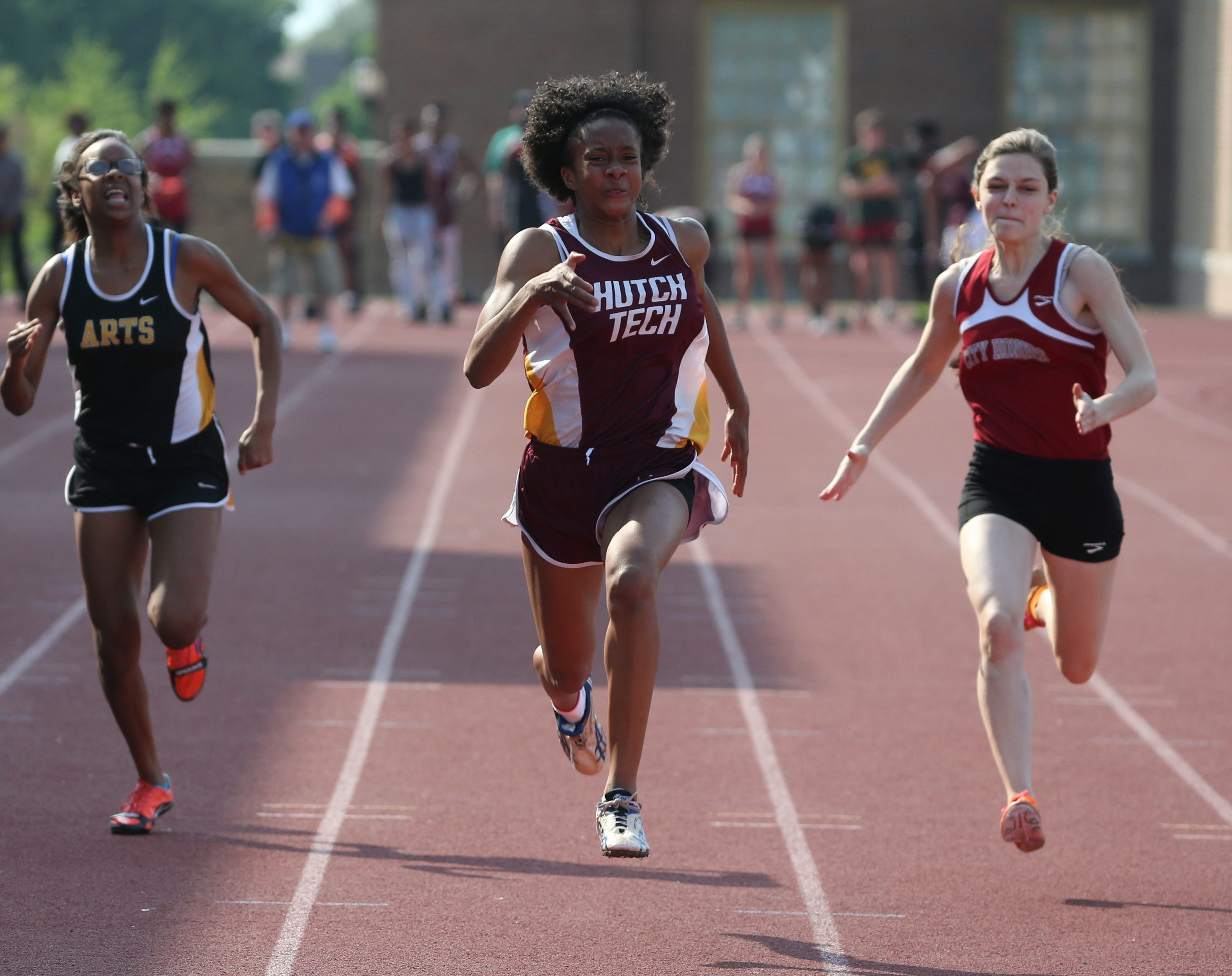Hutch-Tech's Lynda Brundige wins the girls 100 meters in the All-High Track and Field Championships.