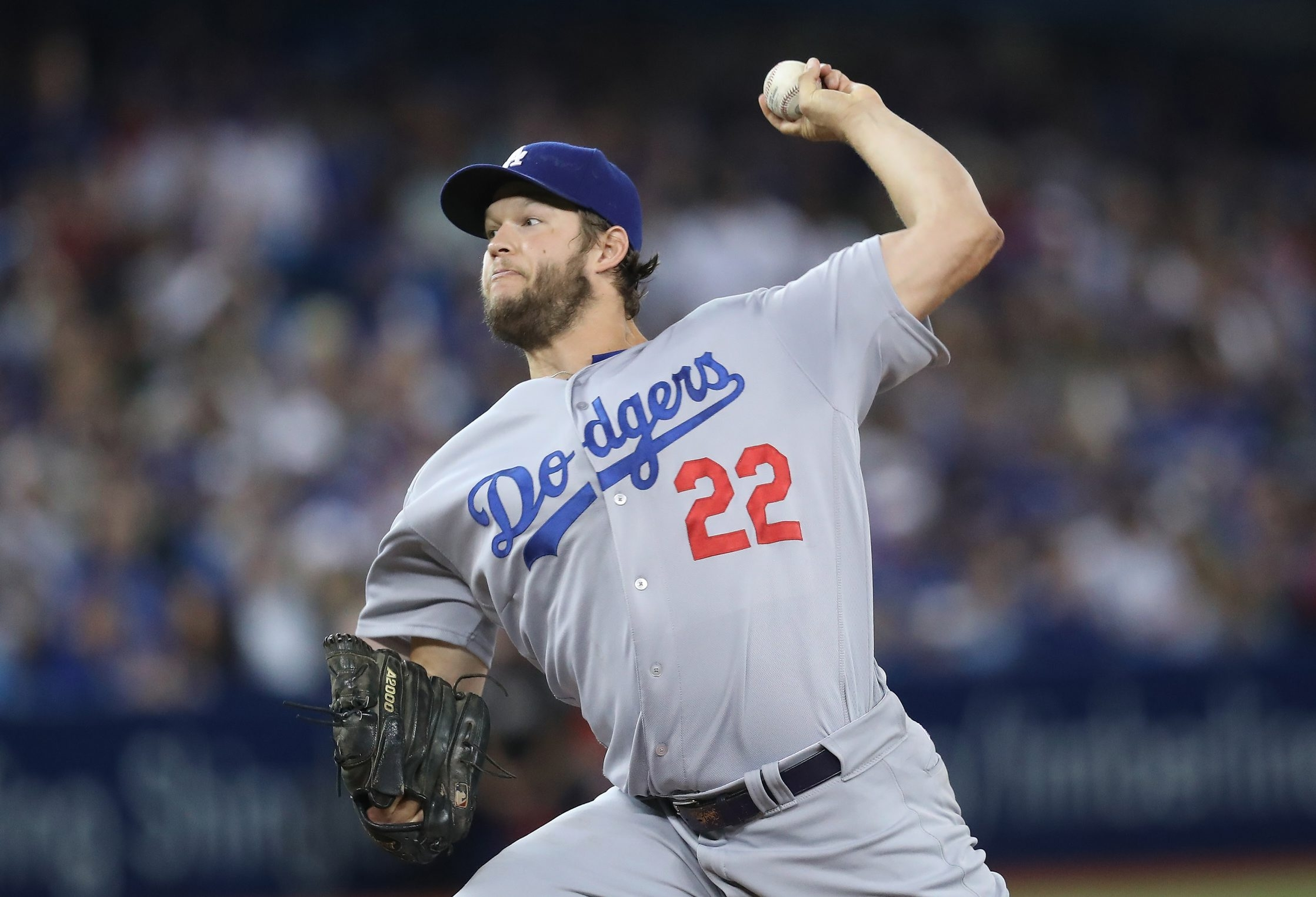 Clayton Kershaw's strikeout total reached double-digits against the Toronto Blue Jays.