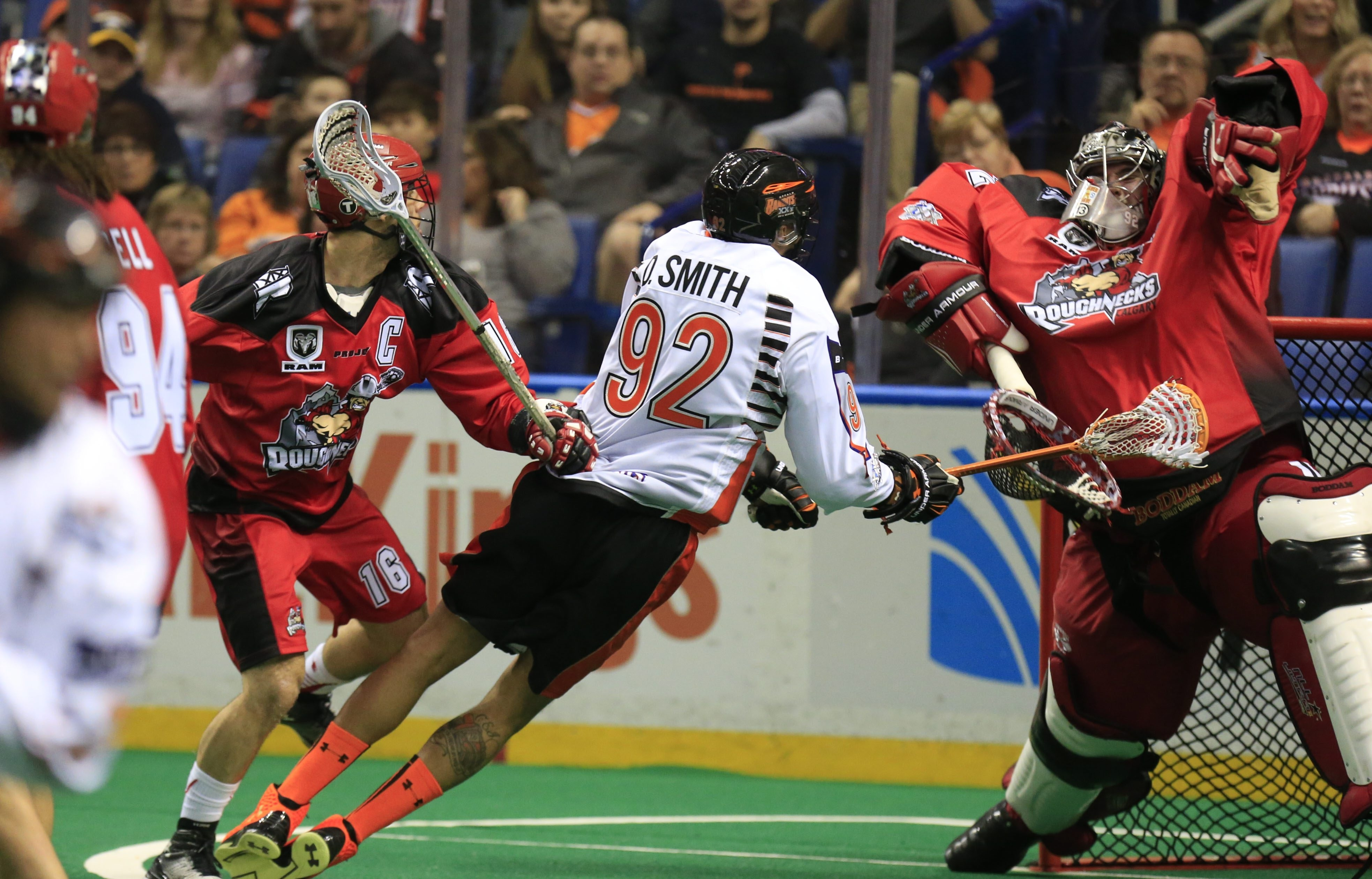 Dhane Smith (92) looks to be as much of an impact player for the Bandits during the playoffs as he's been during his record-setting regular season.  (Harry Scull Jr./Buffalo News)