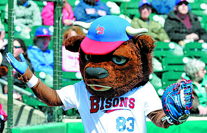 Buffalo Bisons  mascot Buster Bisons waives to the fans prio to  opening day action against the Rochester Red Wings at Coca-Cola Field on Thursday, April 14, 2016. (Harry Scull Jr./Buffalo News)