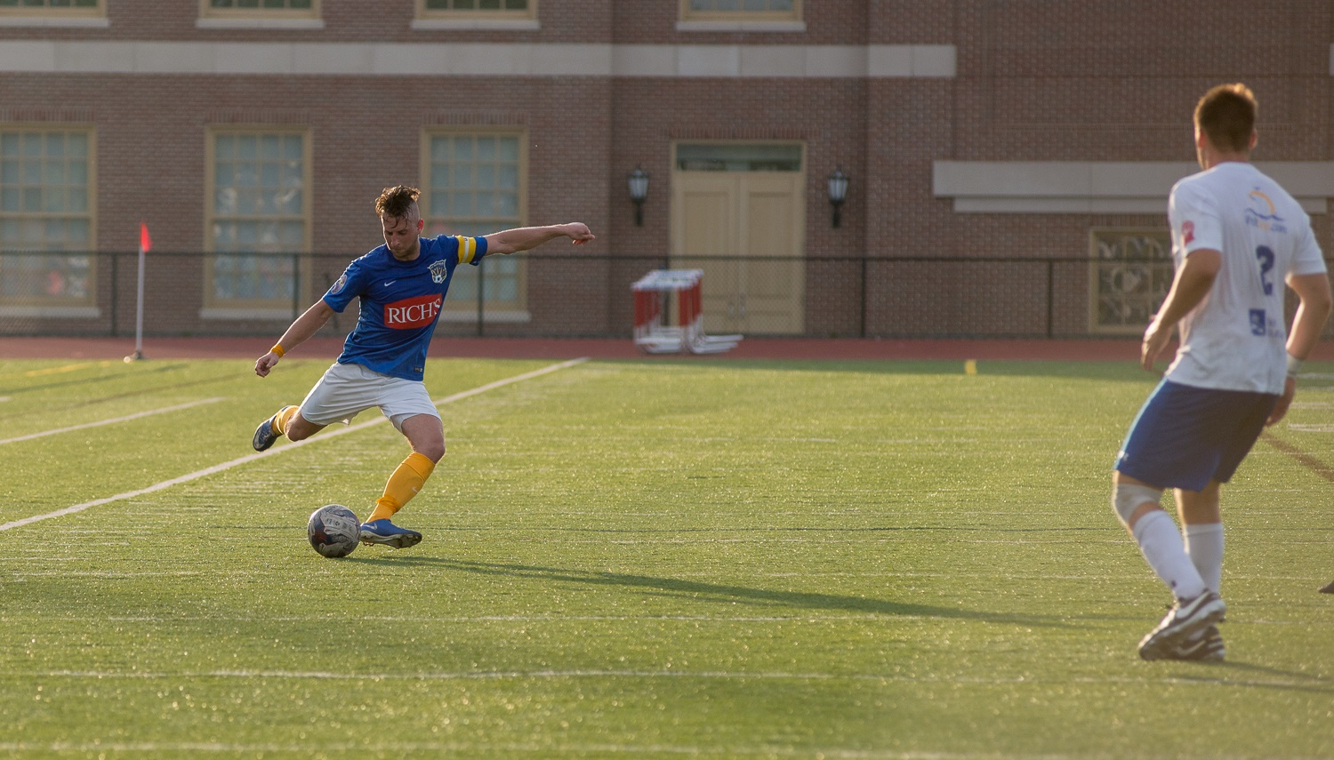 FC Buffalo's Chris Walter, left, wore the armband again Saturday. He's pictured against Erie in the club's first meeting. (Matt Weinberg/Special to The News)