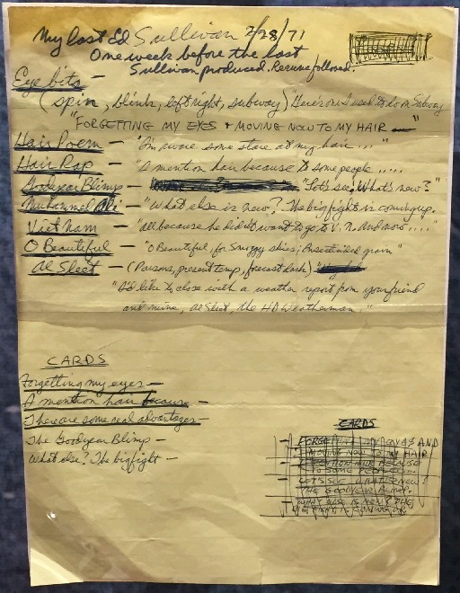 George Carlin's set list from an appearance on the Ed Sullivan Show (Jamestown National Comedy Center)