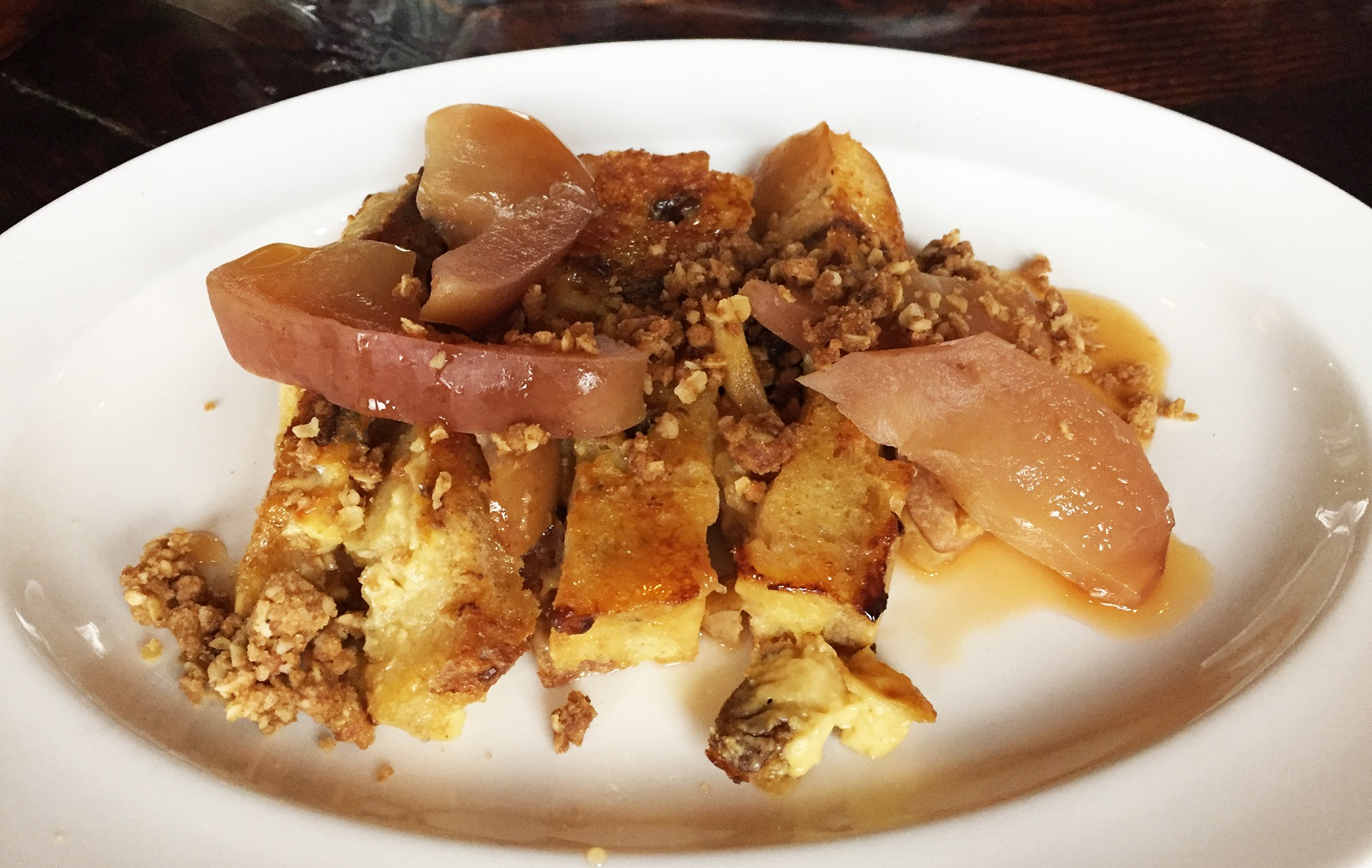 When other fruit is not available, Gedra uses apples and pears, as in this brunch special. (Caitlin Hartney/Special to The News)
