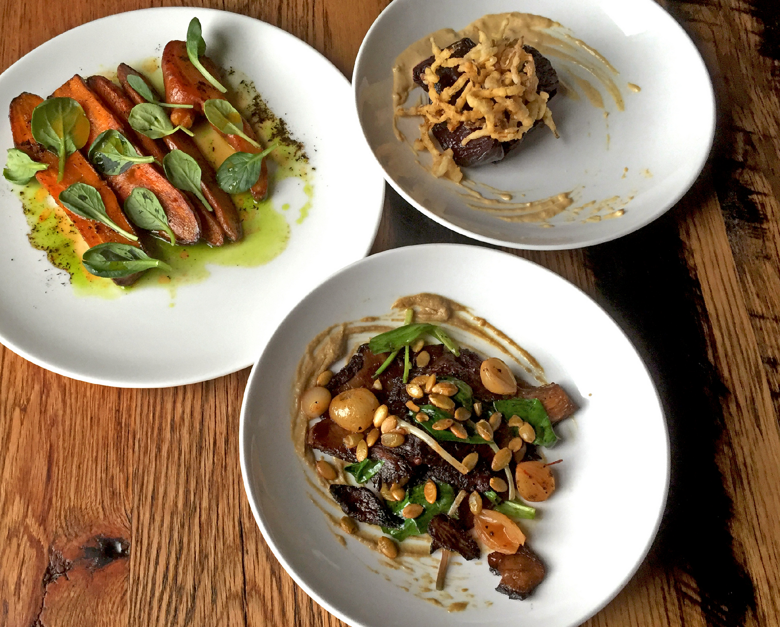 Even in this low point of the vegetable season, Joseph Fenush's vegetable creations at Toutant are not to be missed. Caramelized carrots, smoked beets and brined mushrooms make these dishes soar. (Christa Glennie Seychew/Special to The News)