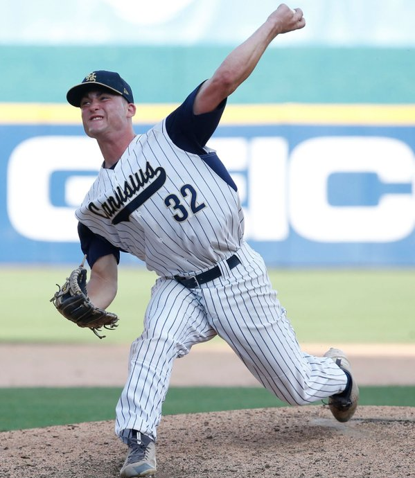 Canisius' Dan Dallas throws a pitch during his no-hitter in the final start of his scholastic career during the Georgetown Cup championship series at Coca-Cola Field last month. (Photo: Harry Scull/Buffalo News)