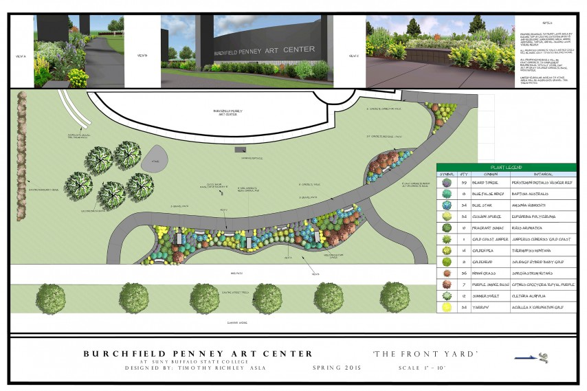 A new landscape design for the Burchfield Penney Art Center will give visitors the effect of looking at the center 'through a watercolor painting,' according to designer Timothy Richley.