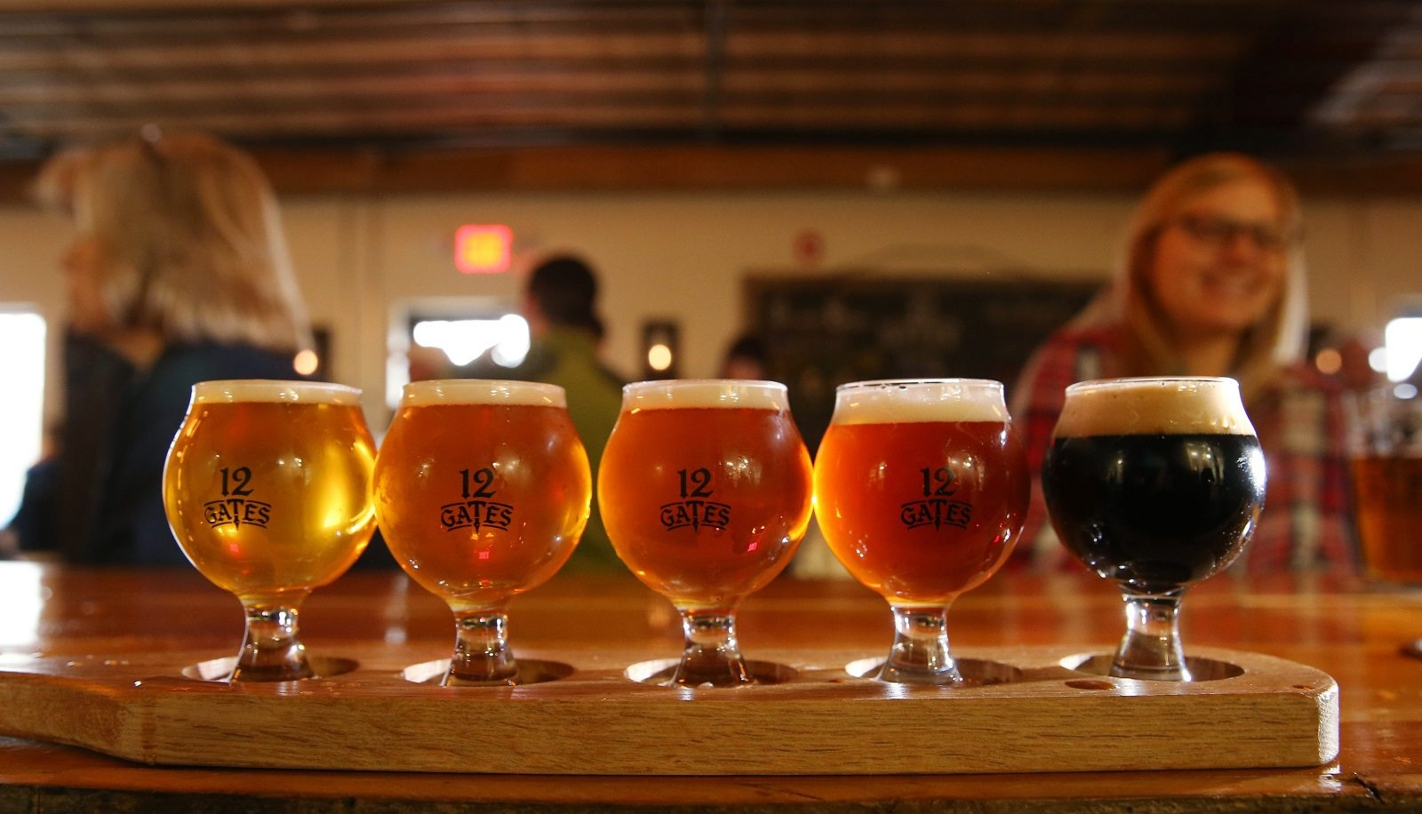 A flight of beer from 12 Gates Brewing Co. in East Amherst.  (Sharon Cantillon/Buffalo News file photo)