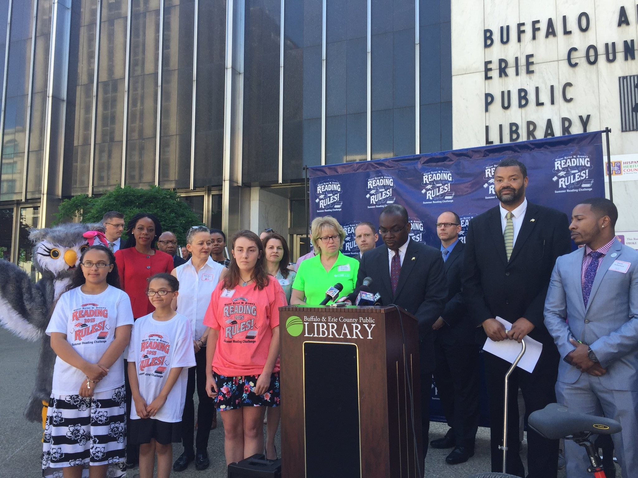 """Mayor Byron W. Brown on Friday announced the newly designated """"Washington Street Literary Corridor"""" outside the Central Library. (Aaron Besecker/Buffalo News)"""