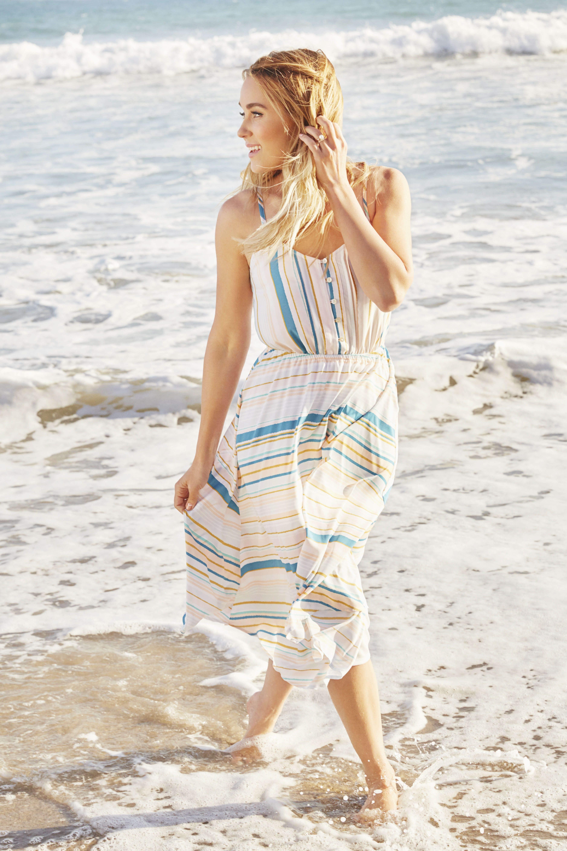 LC Lauren Conrad full-skirted midi dress in Athens Stripe, above, at select Kohls, kohls.com – for Home & Style