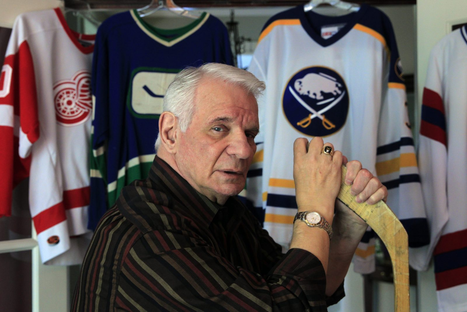 NHL alumni Mike Robitaille is pictured inside his home on Friday, May 20, 2016. Robitaille and 103 other former hockey players are seeking medical monitoring and compensatory damages from the National Hockey League.