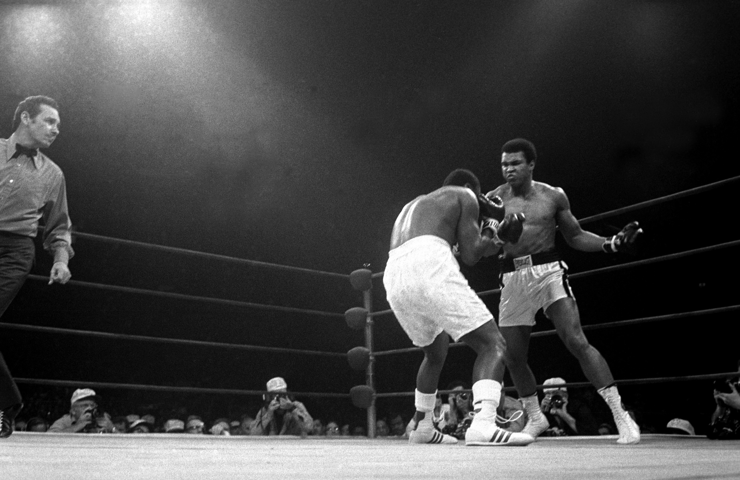Muhammad Ali fought, and defeated, Joe Frazier in the second of their three fights at Madison Square Garden in 1974.