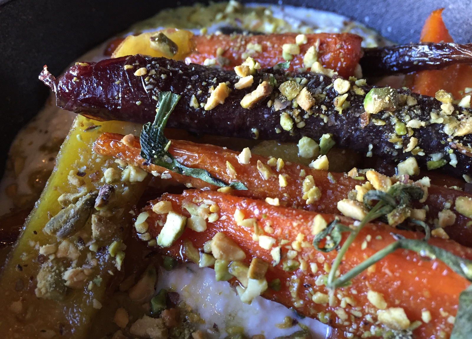 Chef Wieszala proves his prowess with vegetables in this dish of honey roasted carrots with smoked pistachio butter and ricotta. (Caitlin Hartney/Special to The News)