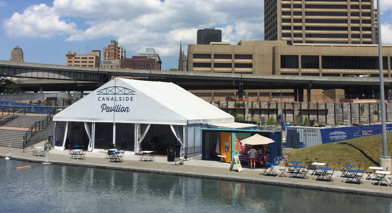 Canalside Pavilion, by the splash pool