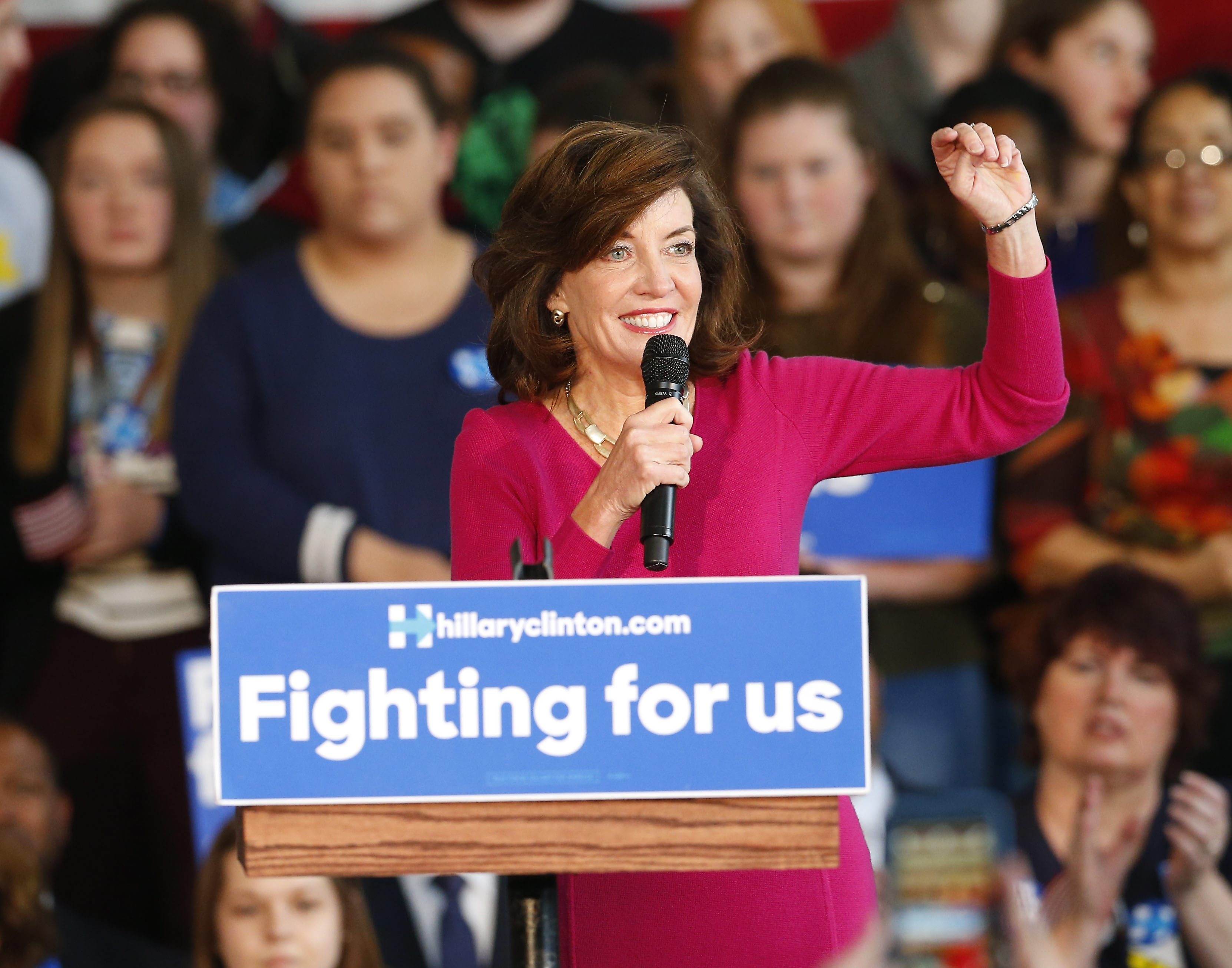 Lieutenant Governor Kathy Hochul speaks to Hillary Clinton supporters at a campaign rally at the Pierce Arrow Museum in Buffalo on April 8. (Mark Mulville/Buffalo News)