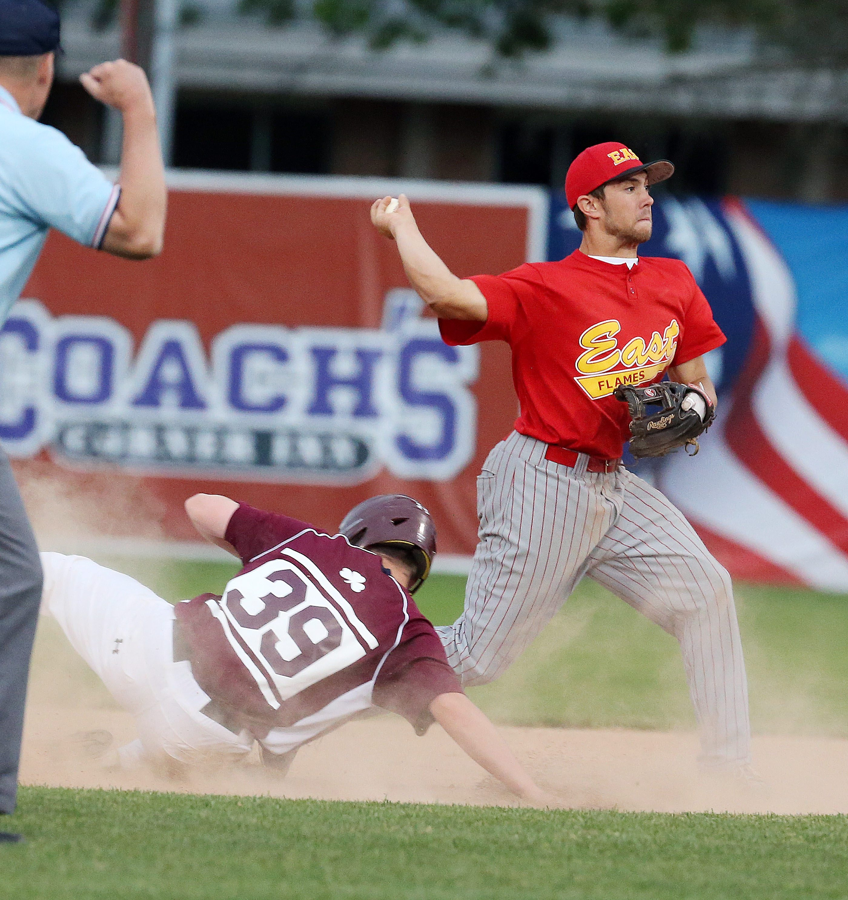 Williamsville East's  Charlie Mack turns a double play during the Flames' regional win over Section V champion Aquinas. Mack is among the Western New Yorkers to earn All-State honors in his respective class from the New York State Sportswriters Association. (James P. McCoy/Buffalo News)
