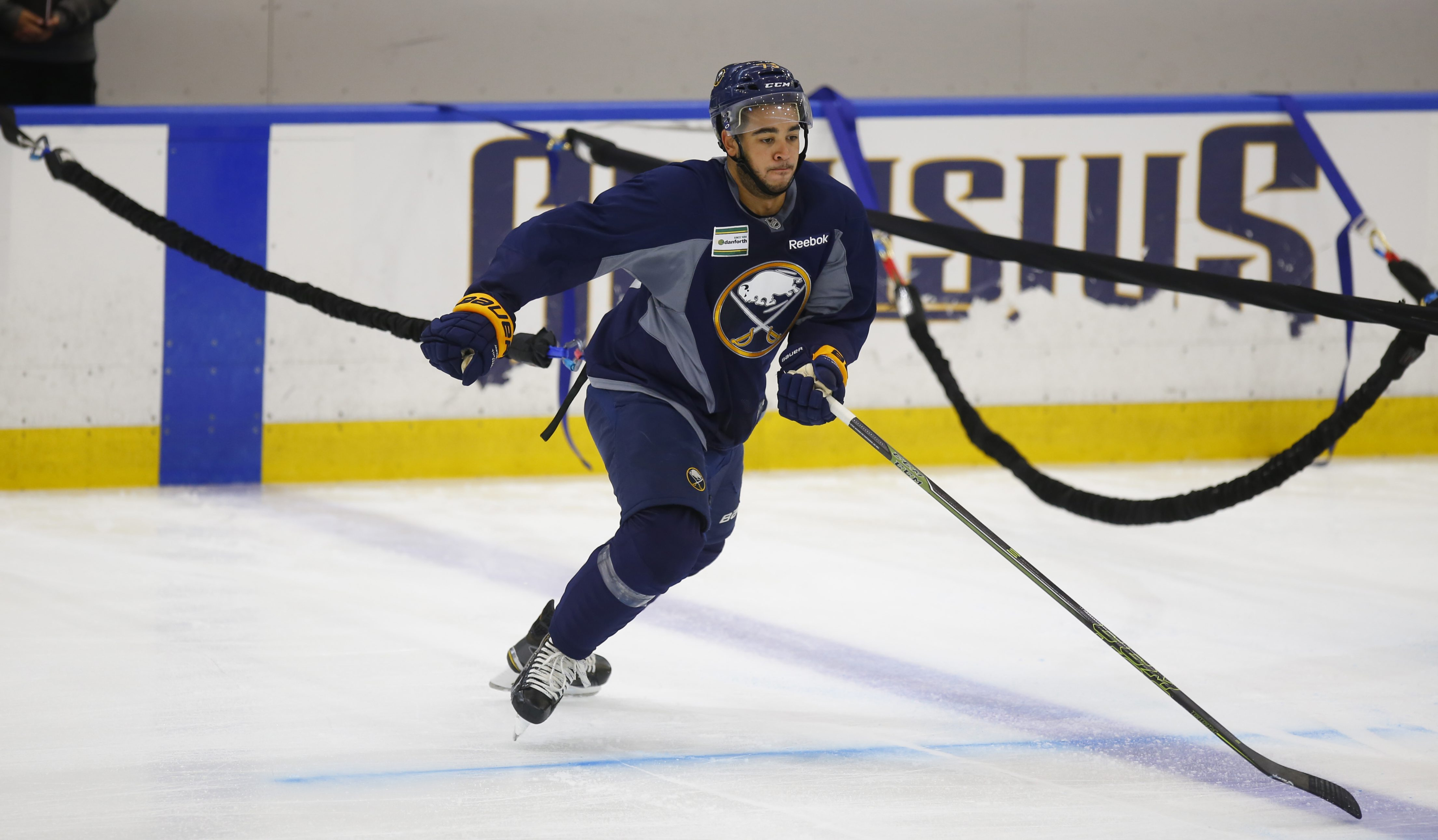 Buffalo Sabres prospect Nicholas Baptiste works on a bungee drill during the Sabres' 2016 development camp at HarborCenter. (Harry Scull Jr./Buffalo News)