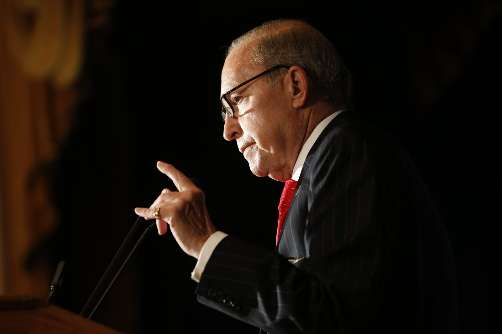 Conservative commentator Larry Kudlow speaks during the New York Delegation Breakfast at the Renaissance Hotel in Cleveland, Ohio, Monday, July 18, 2016.  (Photo by Derek Gee)