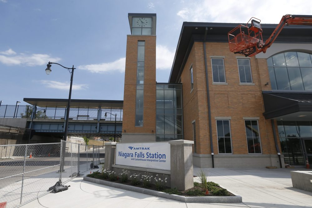 The new $43 million Amtrak train station in Niagara Falls and adjacent Customs House with the new Underground Railroad Museum. (Robert Kirkham/Buffalo News)