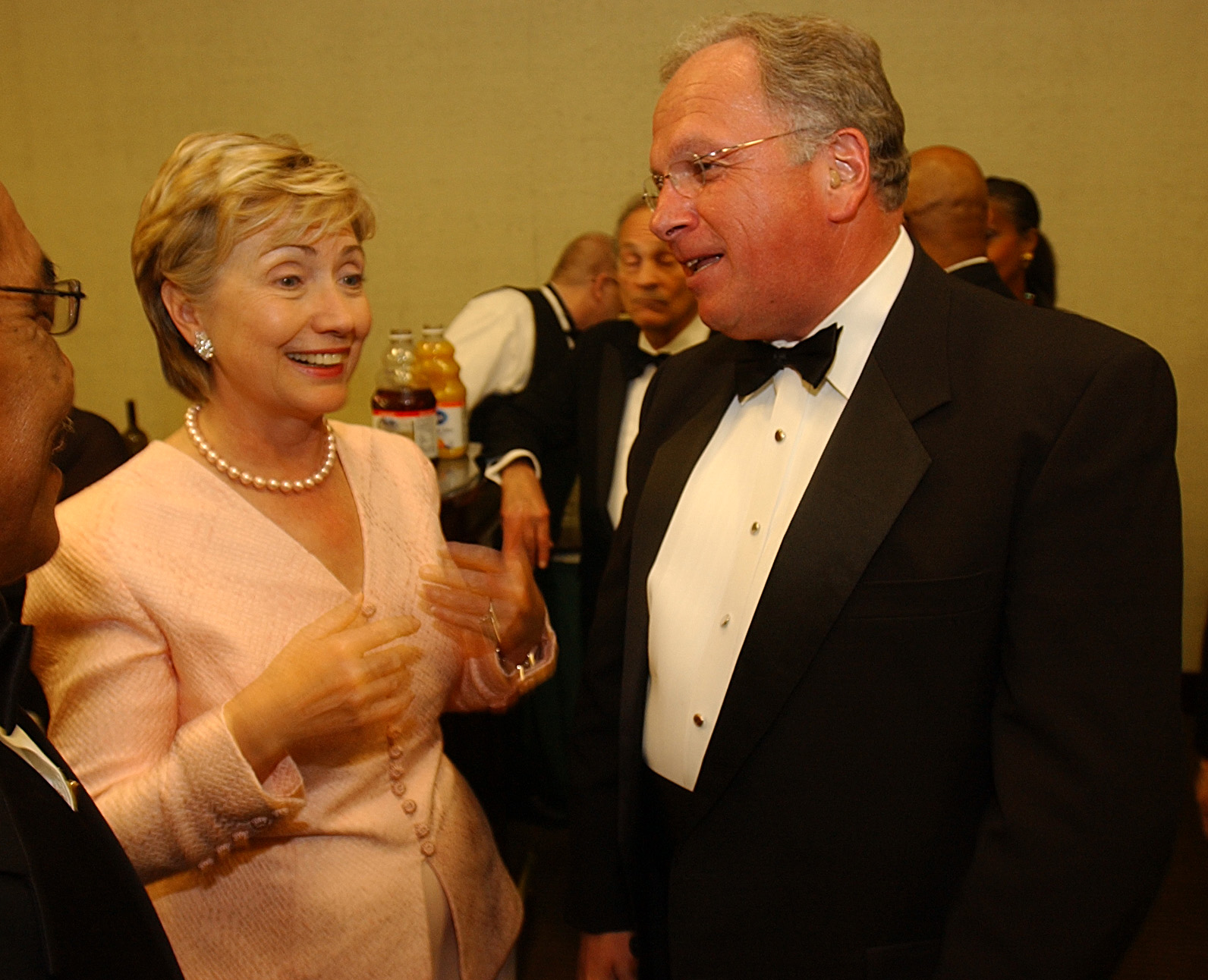 Former Senator Hillary Clinton and  former Congressman Tom Reynolds chat in the VIP room at the Buffalo Convention Center before receiving an award from Kaleida Health Care in 2005. (News file photo)