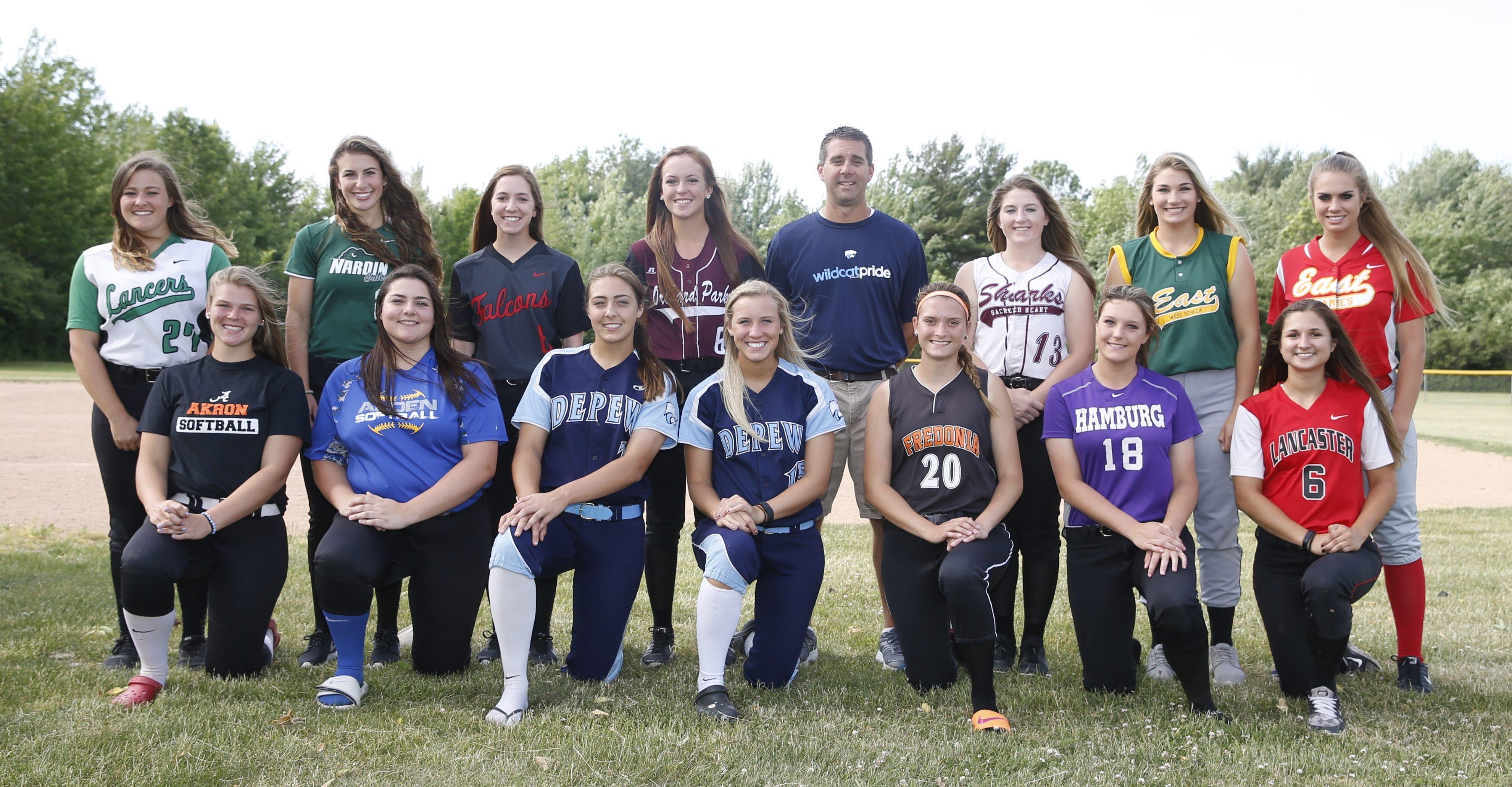 The 2016 All-Western New York Softball Team: Front row (left to right) -- Abby Stone, Akron; Laura Kratzke, Alden; Karsen Cotton, Depew; Abby Nicometi, Depew; Hannah Cybart, Fredonia; Heather Haberman, Hamburg; Kara Paradowski, Lancaster. Back row (L-R) -- Jenna Rhue, Lew-Port; Rachael Perelstein, Nardin; Madison Klidonas, Niagara Wheatfield; Madison Stewart, Orchard Park; Dan Seelig, Depew, Coach of the Year; Shannon Gilbert, Sacred Heart; Anilese Kelly, West Seneca East; Christy Mack, Williamsville East.