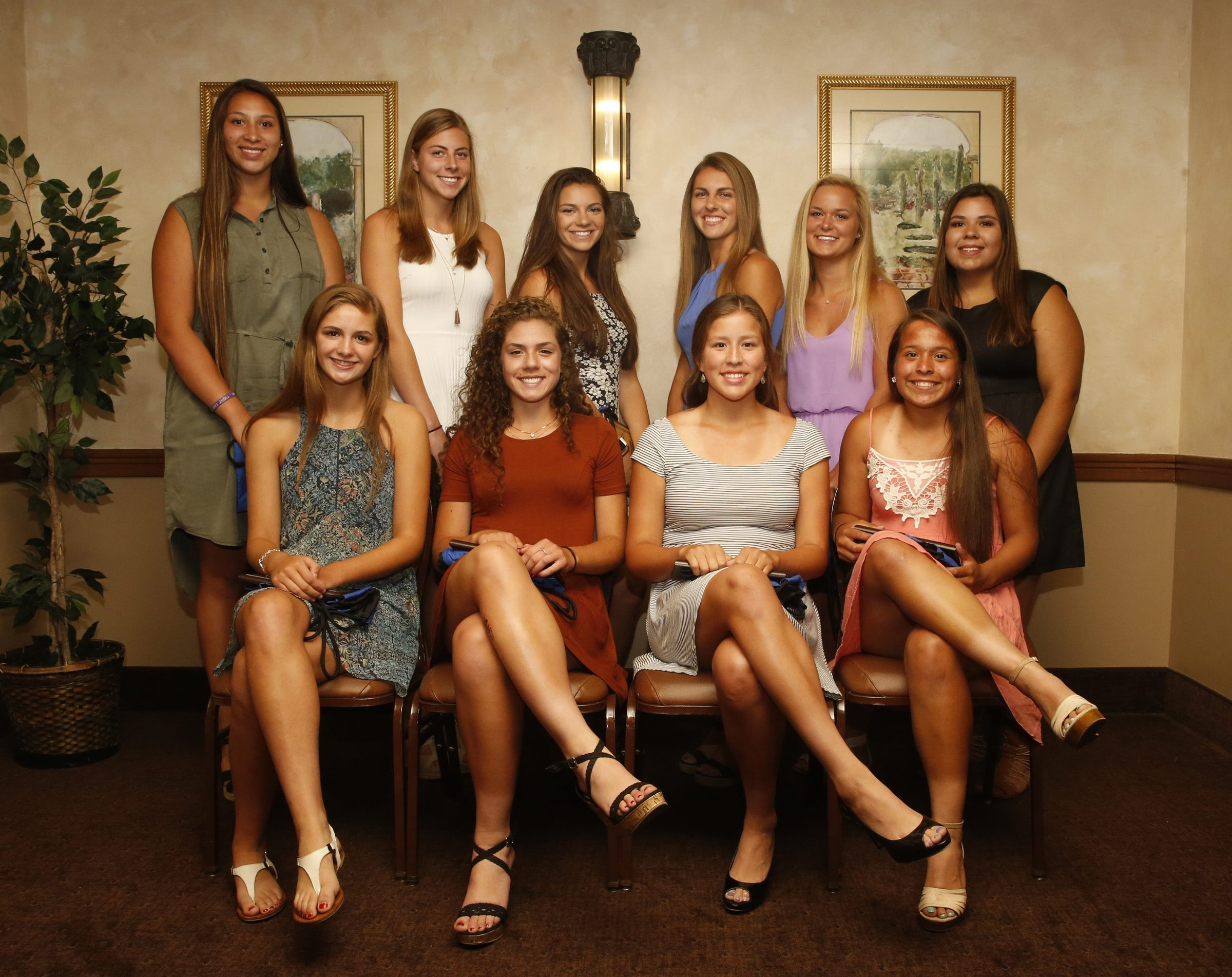 2016 All-Western New York girls lacrosse team, pictured at the Borrelli Awards banquet: Front row, Claire Herrmann, Hamburg, Laura Skrzypczyk, West Seneca East, Jalyn Jimerson, Lake Shore, Ive Santana, Lake Shore; back row, Shayla Scanlan, Lake Shore, Sydney Cerza, Clarence, Anna Orlando, Lancaster, Riley Lucarelli, Lancaster, Grace Ruh, Orchard Park, and Jenna Haring, Lake Shore.