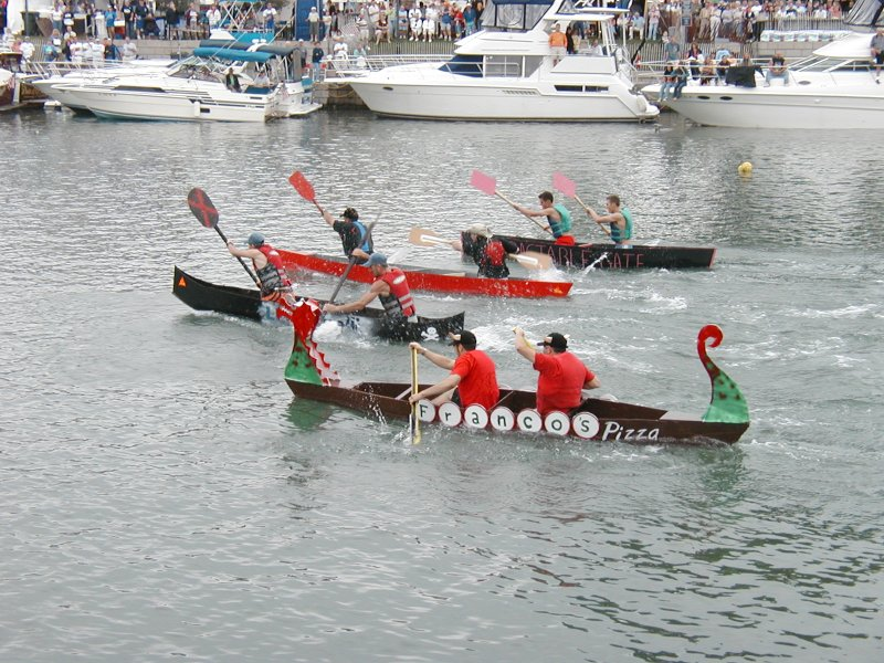 Gillebaard's dragon boat in the Sika Challenge at the 2006 Canalfest. Polly Gillebaard.