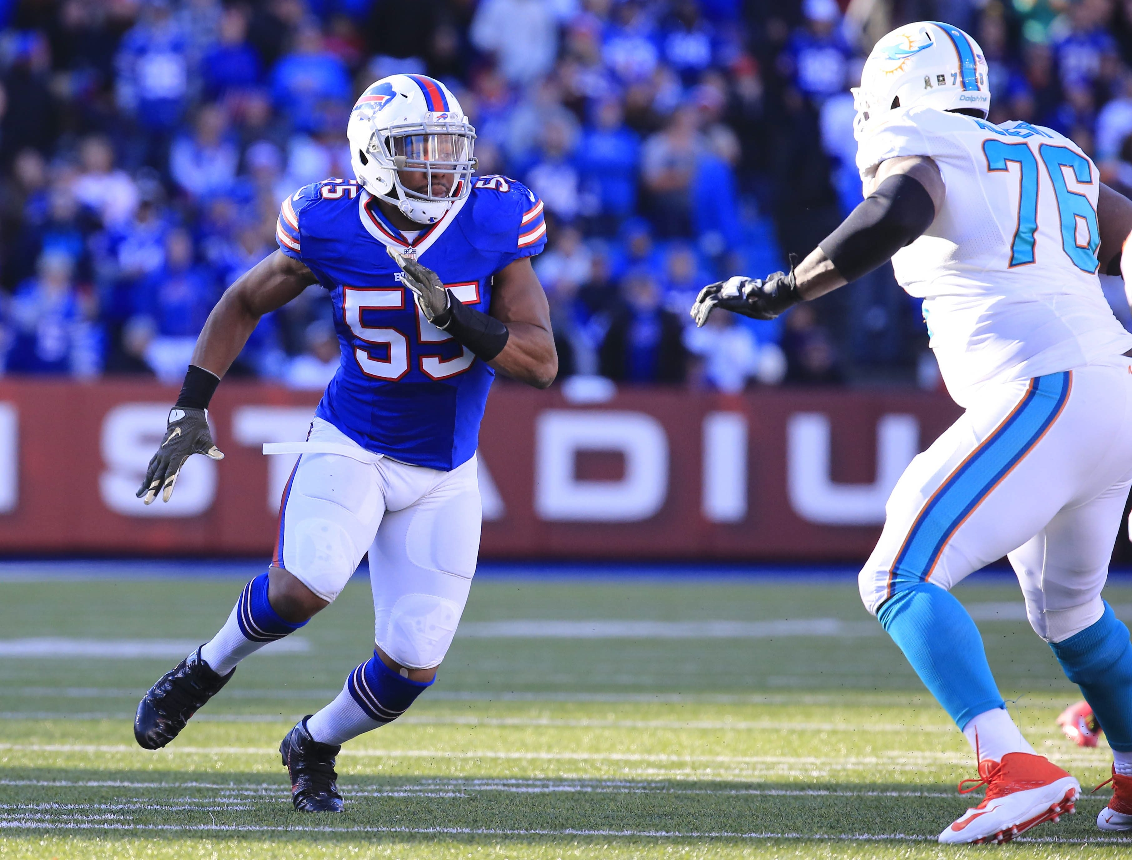 The Bills must figure out who is going to help Jerry Hughes rush the passer. (Harry Scull Jr./Buffalo News)