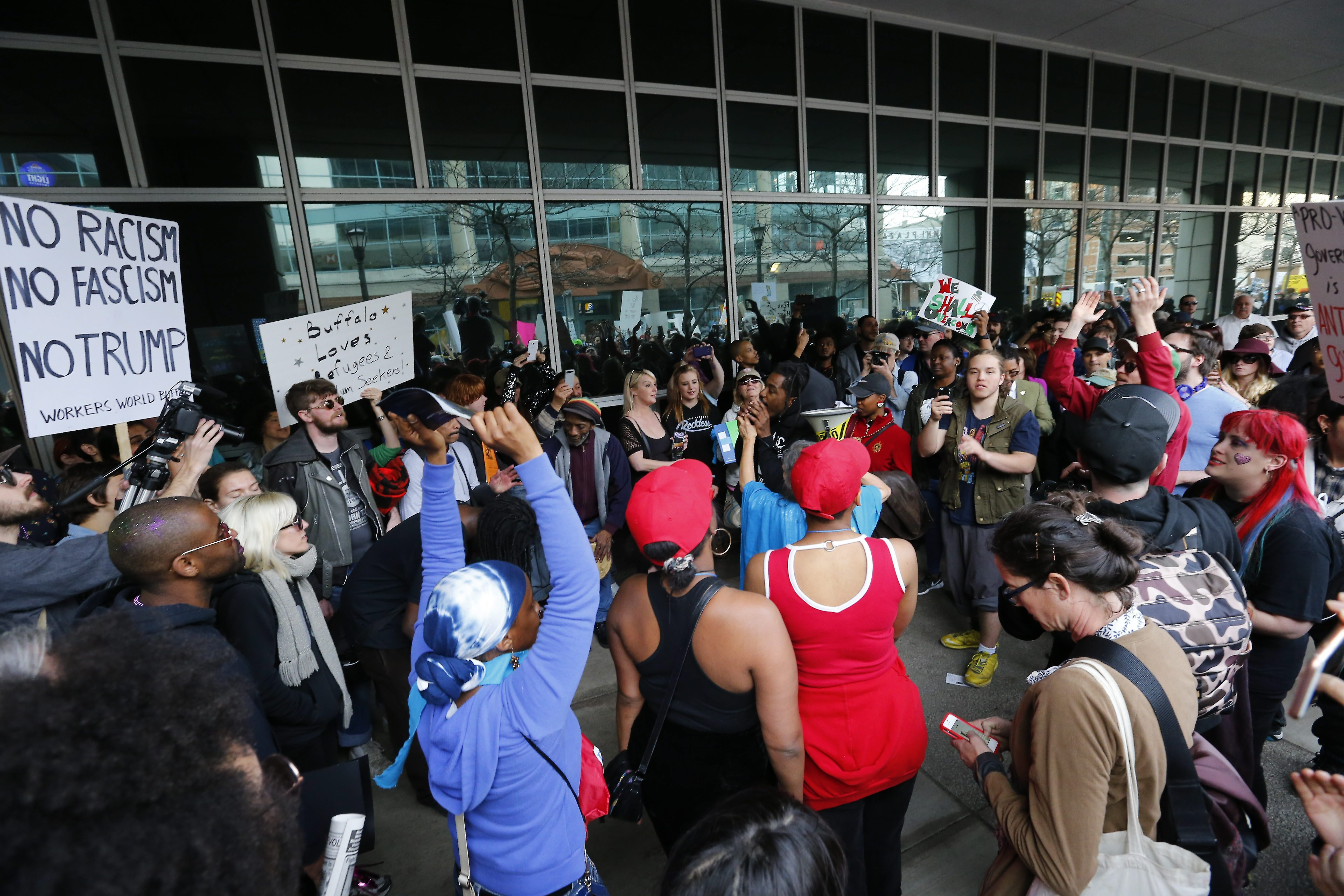 Trump protesters were vocal outside First Niagara Center where a Donald Trump rally was held the night before the New York primary on April 18, 2016.   (Mark Mulville/Buffalo News)