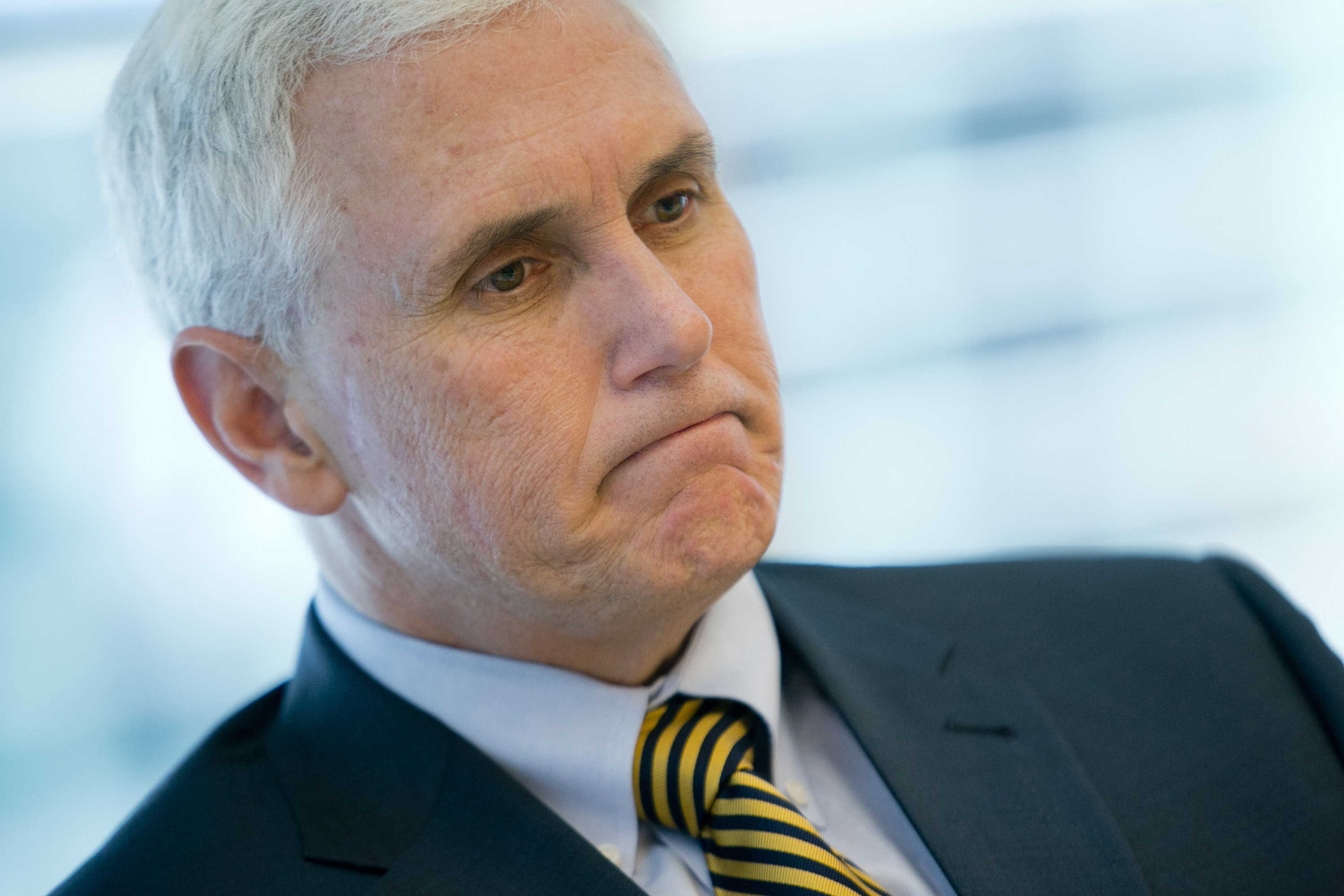 Indiana Gov. Mike Pence during an interview in New York, on Thursday, May 16, 2013. MUST CREDIT: Bloomberg photo by Andrew Harrer.