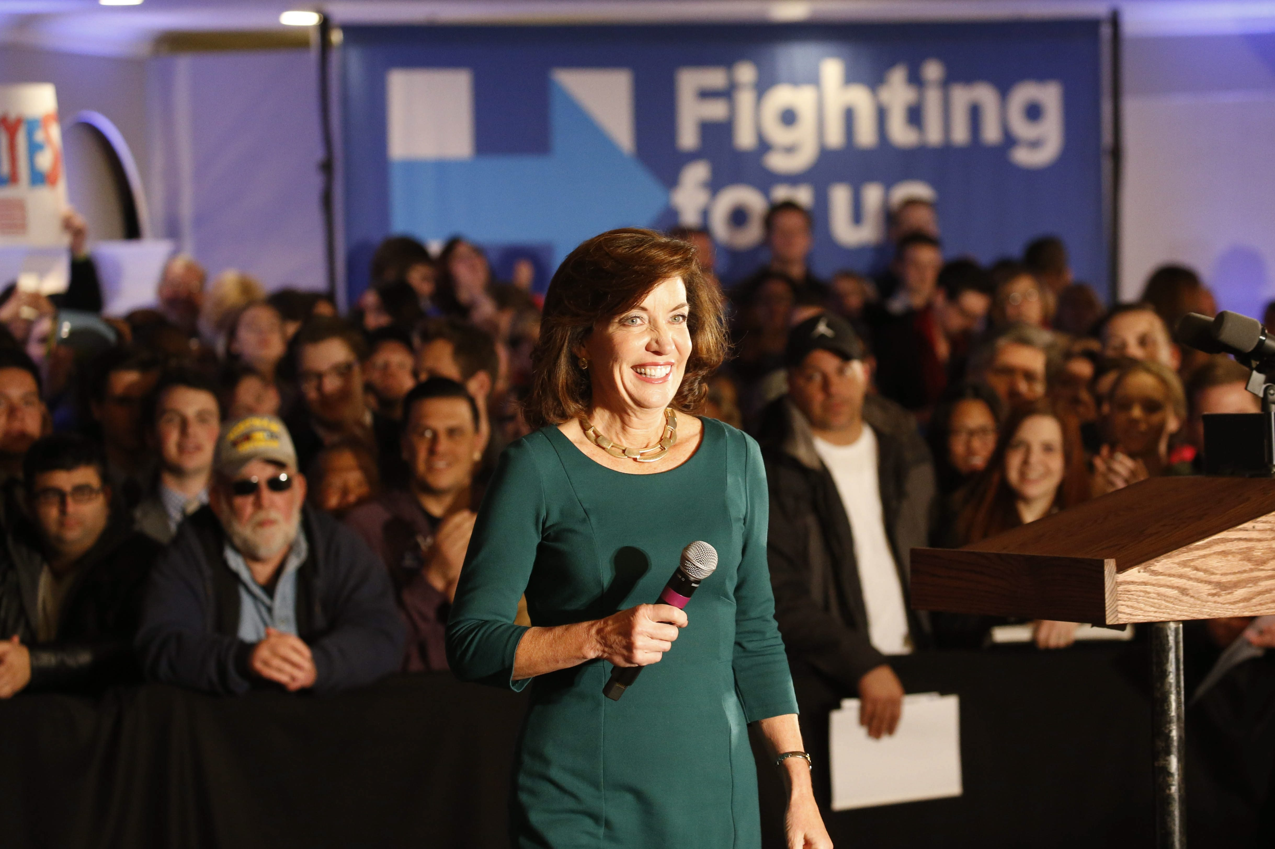Lt. Gov. Kathy Hochul speaks at a campaign rally for Hillary Clinton in Depew. (Derek Gee/Buffalo News)
