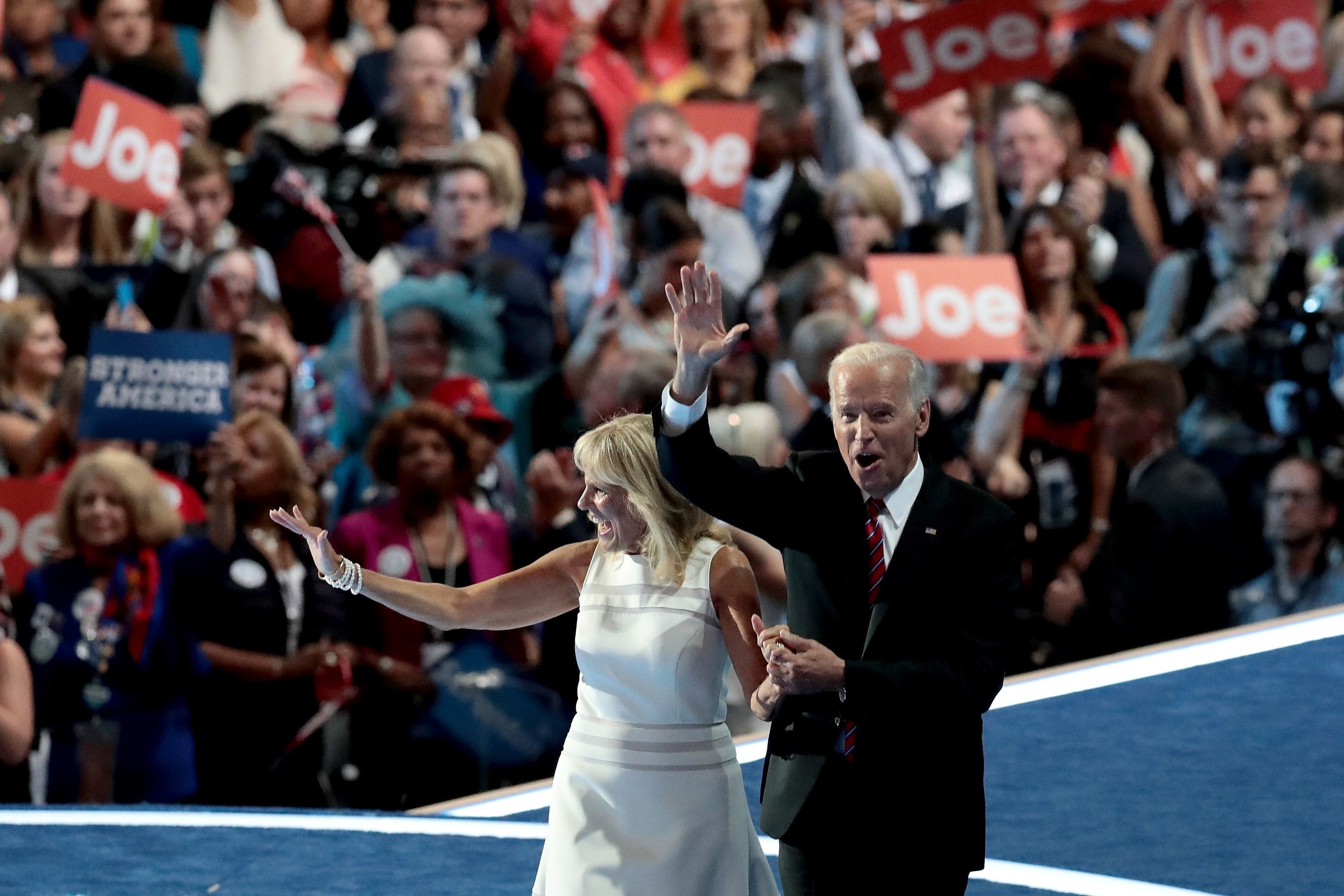 Vice President Biden and his wife, Jill, wave to the crowd on the third day of the Democratic National Convention at the Wells Fargo Center in Philadelphia. Husband and wife both spoke about their confidence in presidential nominee Hillary Clinton.