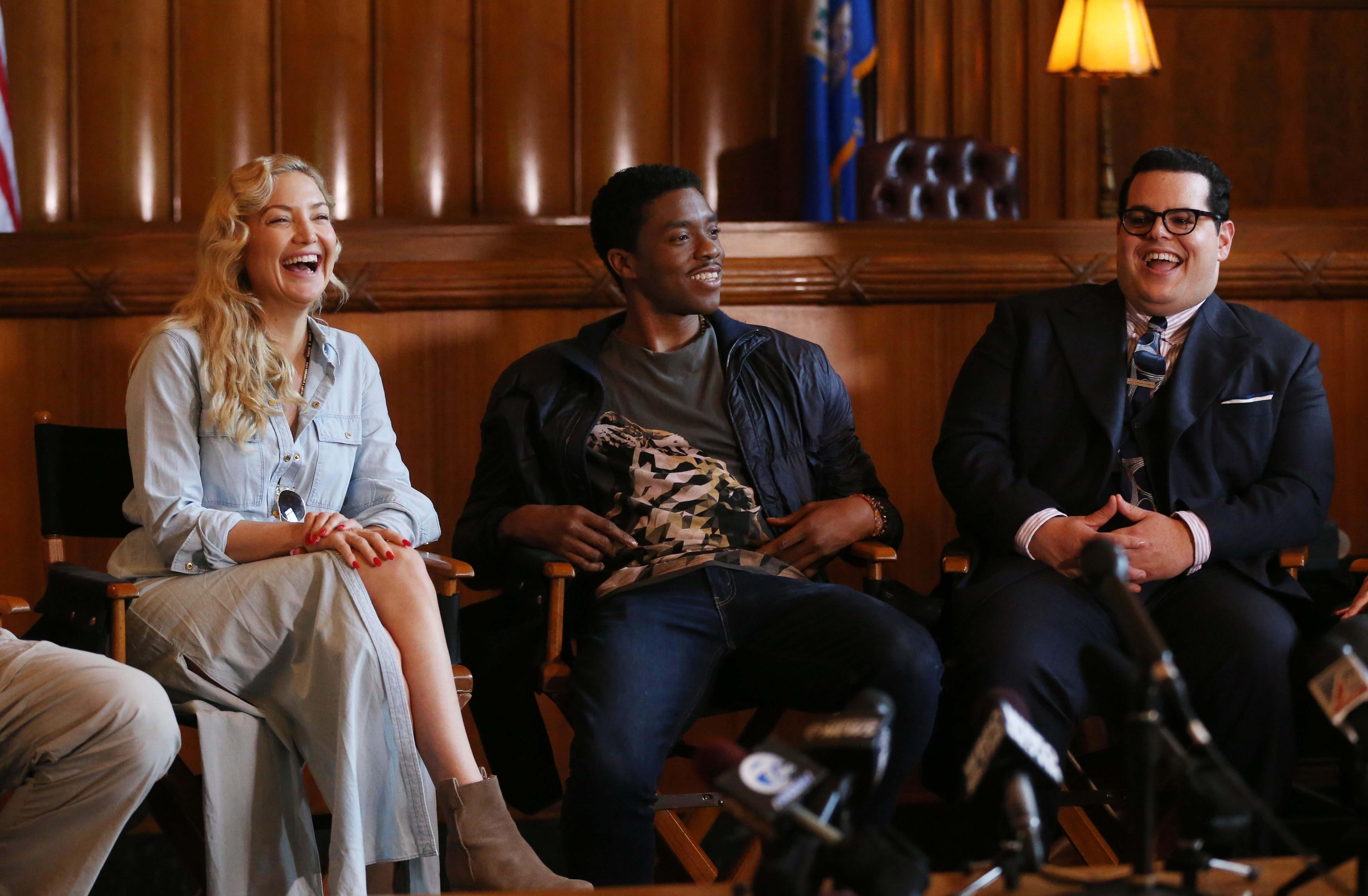 """Actors Kate Hudson, Chadwick Boseman and Josh Gad, who have been in Buffalo for the production of """"Marshall,"""" share their thoughts about the city on Friday, the last day of filming here, at a courtroom in the Dillon Courthouse."""