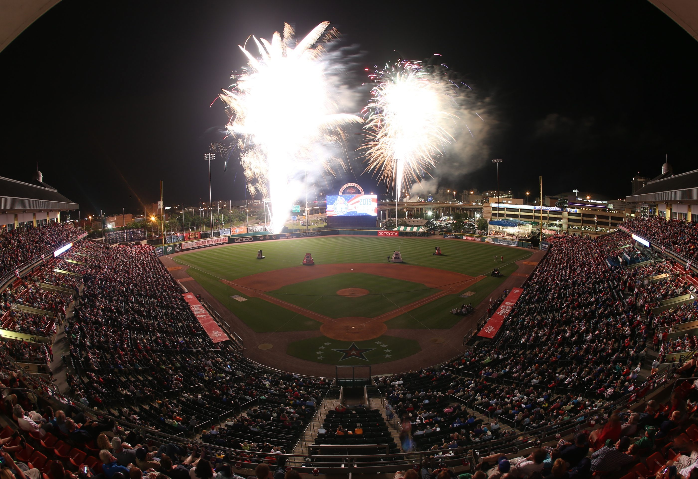 Bisons fans enjoy the fireworks at the 2015 Independence Eve celebration at Coca-Cola Field.
