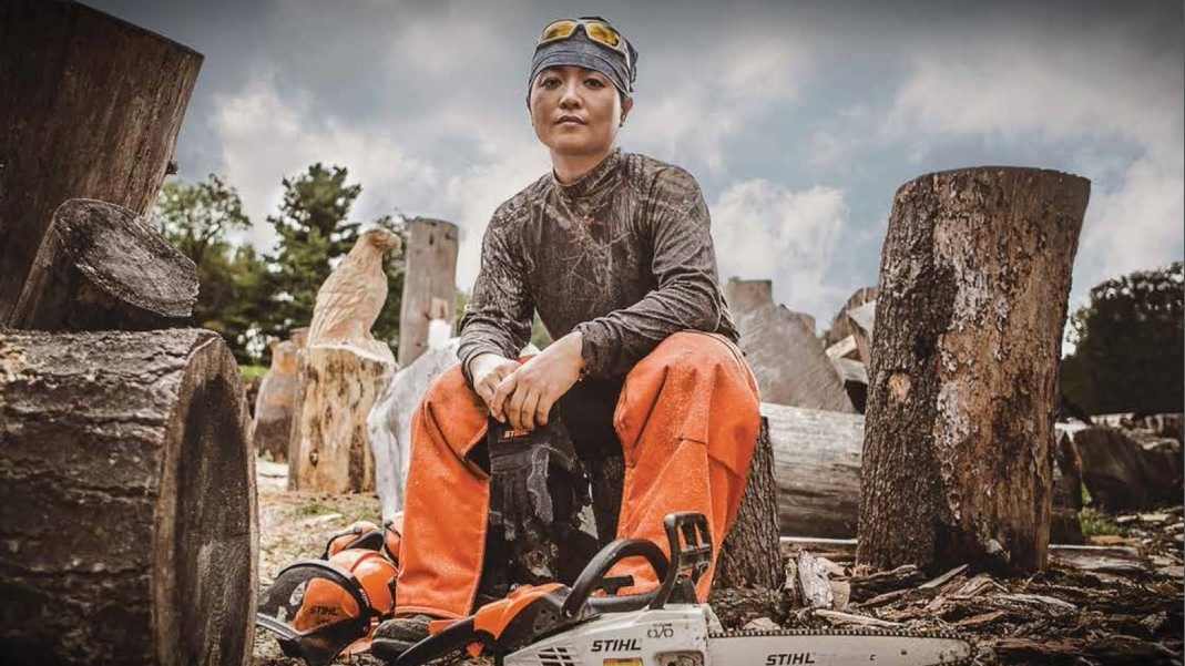 Aya Blaine will create art out of 3-foot logs at Olde Sanborn Days.