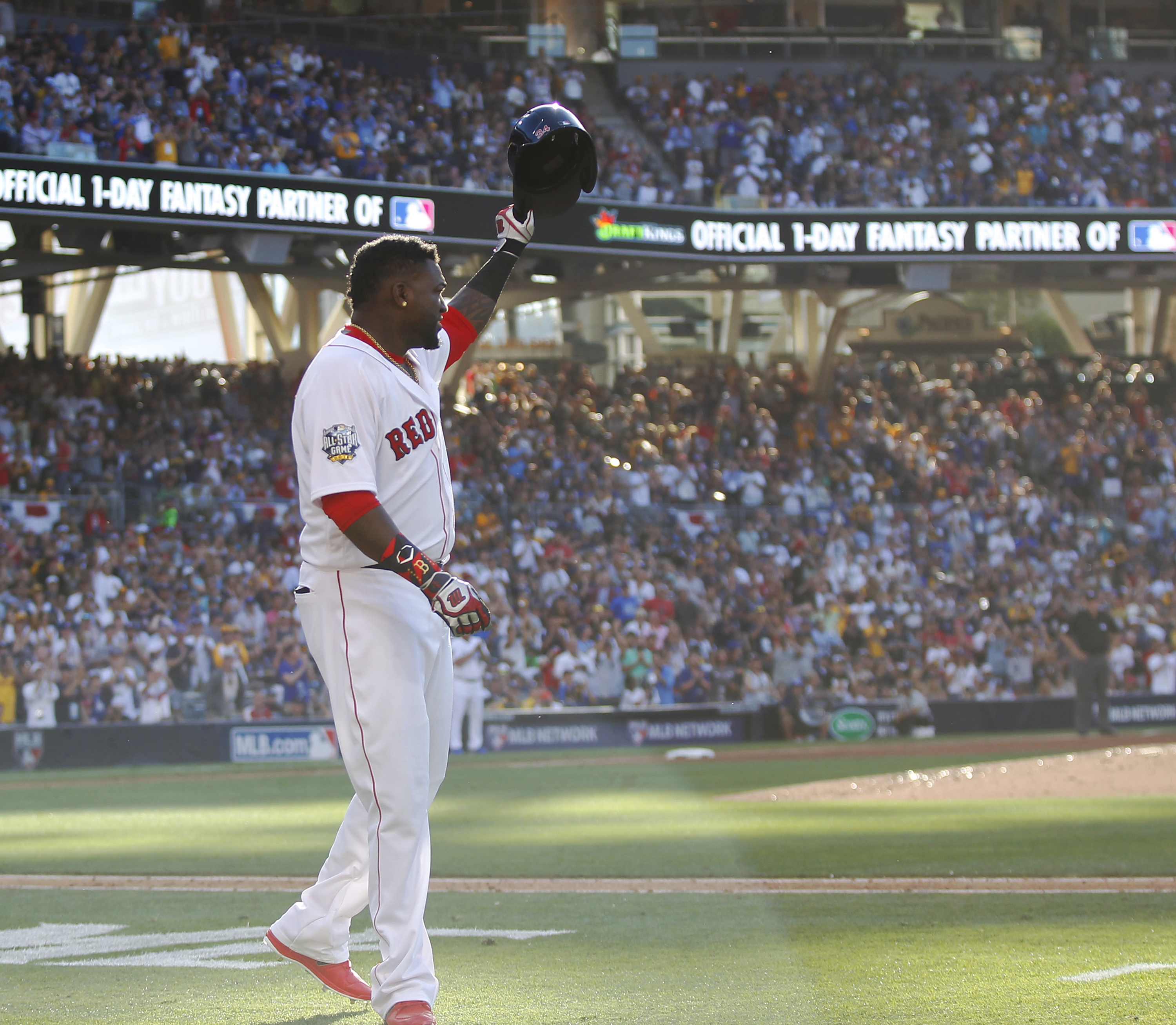David Ortiz of the Boston Red Sox takes a curtain call after being lifted for a pinch runner during Tuesday's All-Star Game in San Diego.