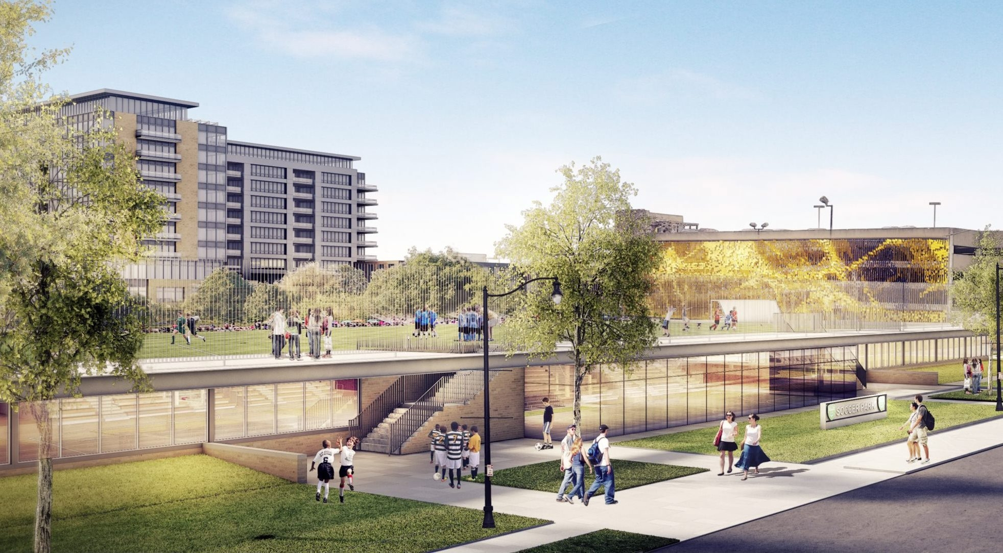 A rendering of the future soccer park designed by Cannon Design at the site of Women & Children's Hospital in Buffalo.