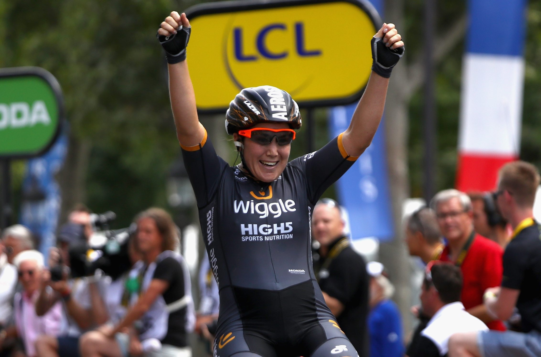 Chloe Hosking of Australia and Team Wiggle High5 celebrates victory in La Course by Le Tour de France Sunday.