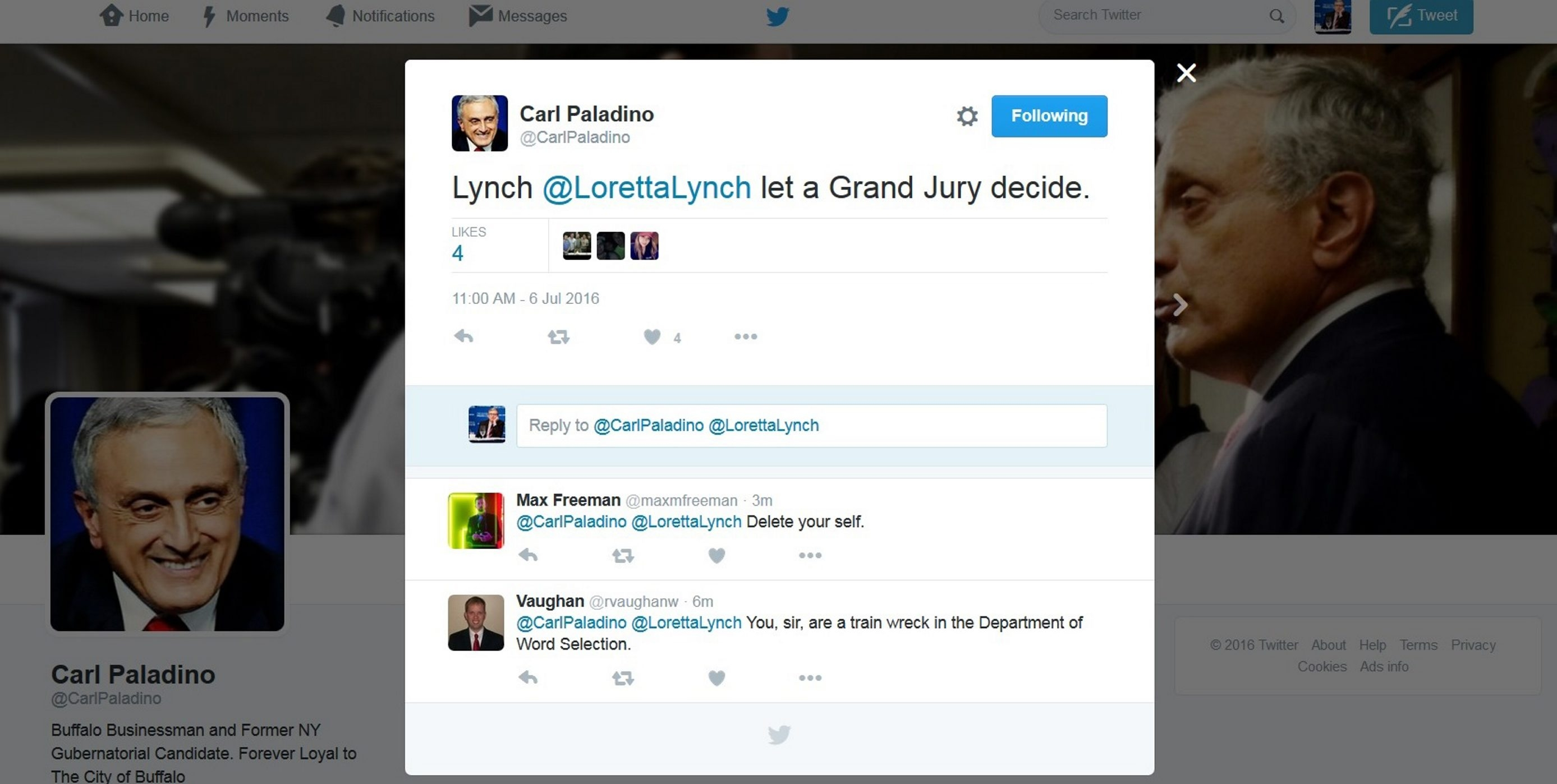The now-deleted tweet on Carl Paladino's Twitter account.