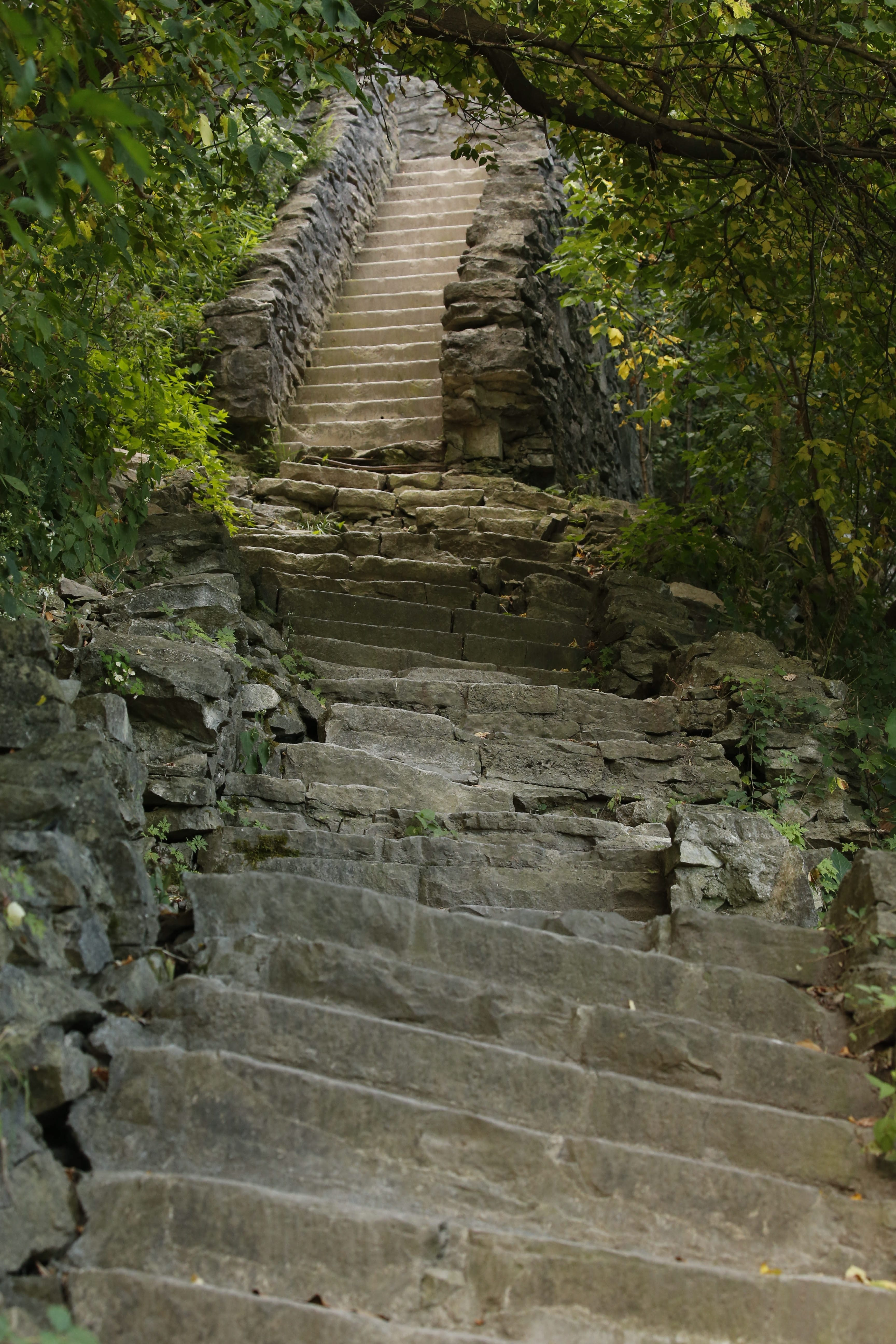 The Whirlpool Stairs to the gorge trail at Whirlpool State Park, shown last year before remediation, are expected to reopen this summer.