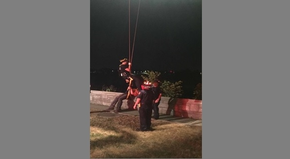 Two men were hoisted from the Canadian side of the Niagara Gorge on Sunday night. (Niagara Parks Police)