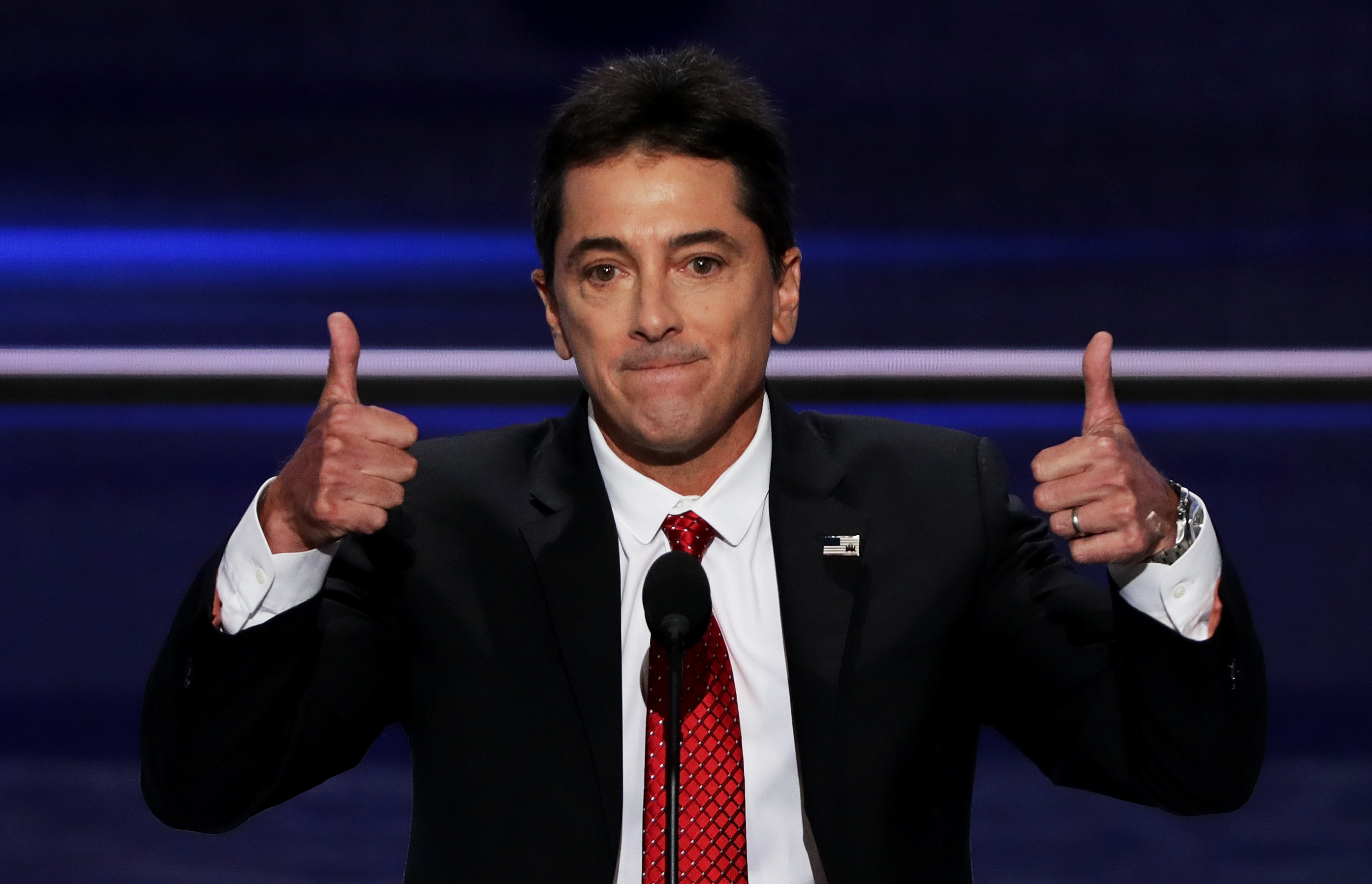 Scott Baio gives two thumbs up during his speech on the first day of the Republican National Convention at the Quicken Loans Arena in Cleveland.  (Alex Wong/Getty Images)