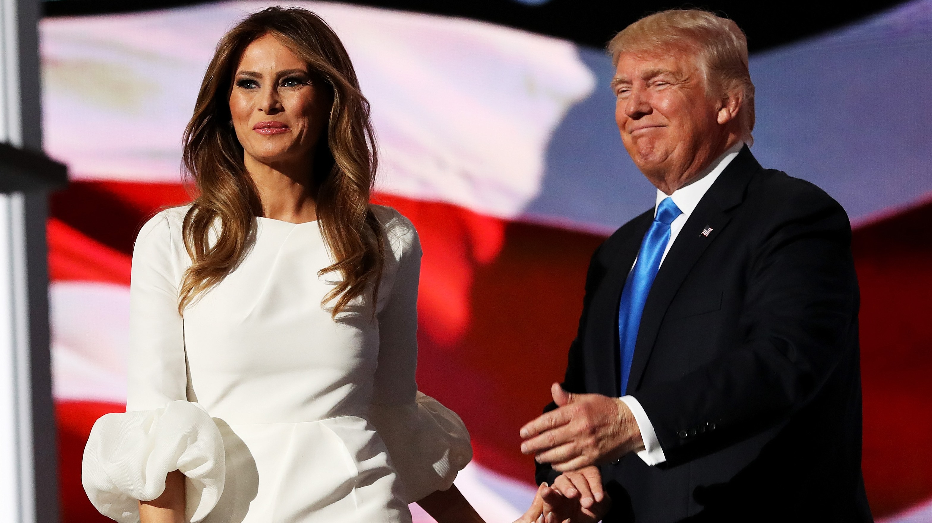 Presumptive Republican presidential nominee Donald Trump introduces his wife Melania on the first day of the Republican National Convention Monday at the Quicken Loans Arena in Cleveland.  (Getty Images)