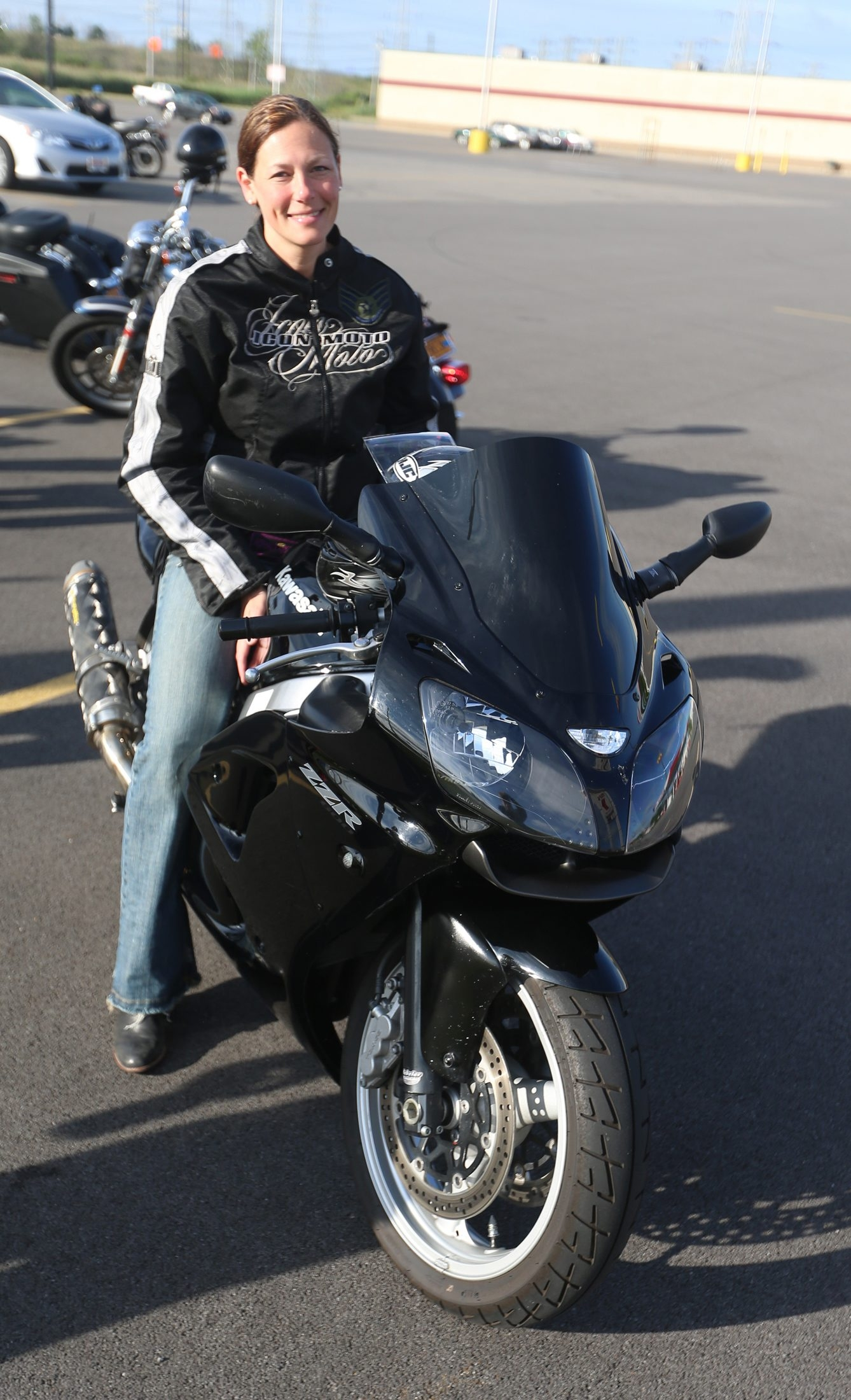 Air Force Staff Sgt. Heather Farr rides a Kawasaki Ninja 600 ZZR. She joined a group of other bikers on Saturday in riding to Erie, Pa., for the 10th anniversary of the Roar on the Shore.