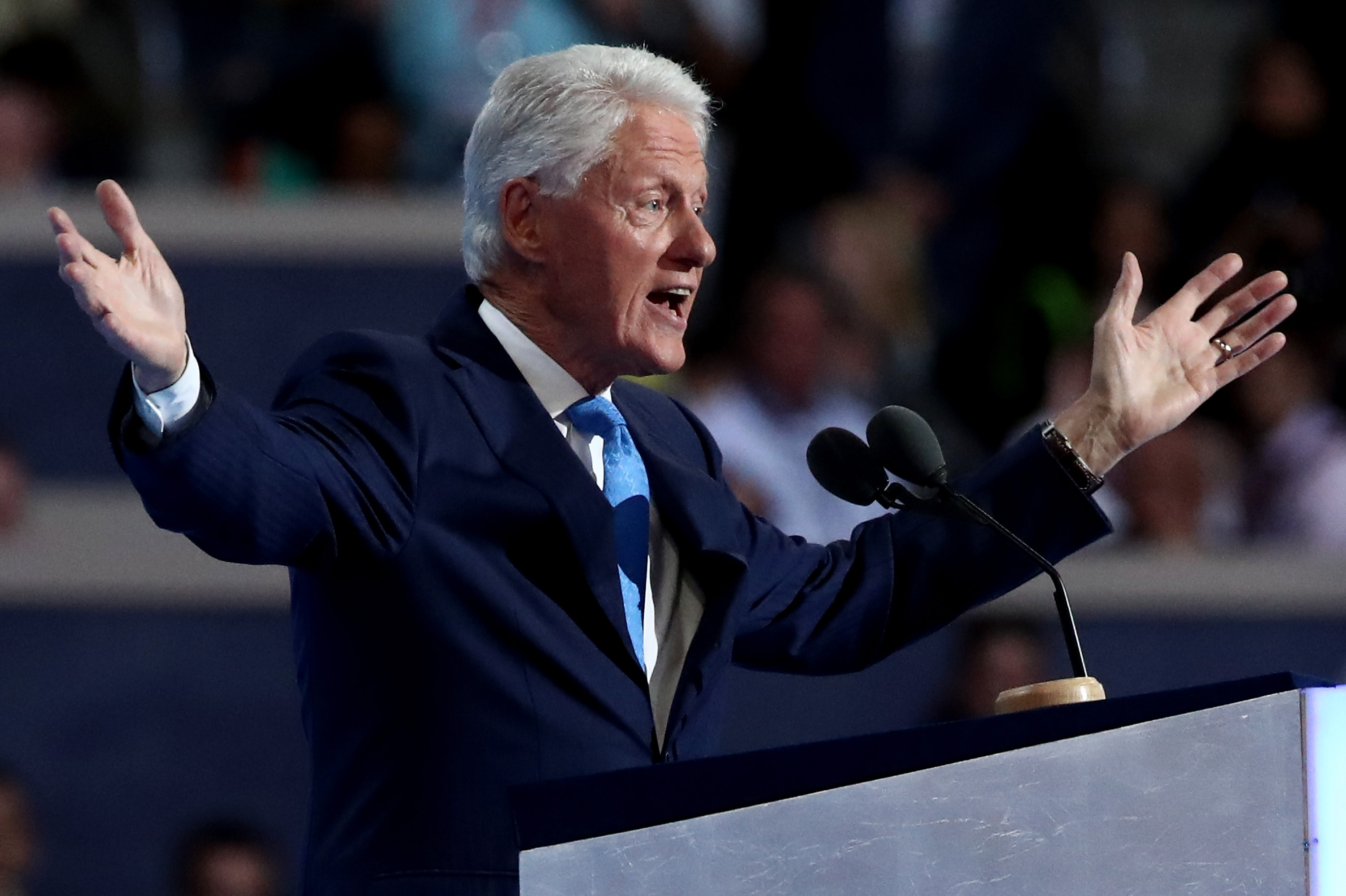Former President Bill Clinton delivers remarks on the second day of the Democratic National Convention at the Wells Fargo Center, July 26, 2016 in Philadelphia, Pennsylvania. (Getty Images)