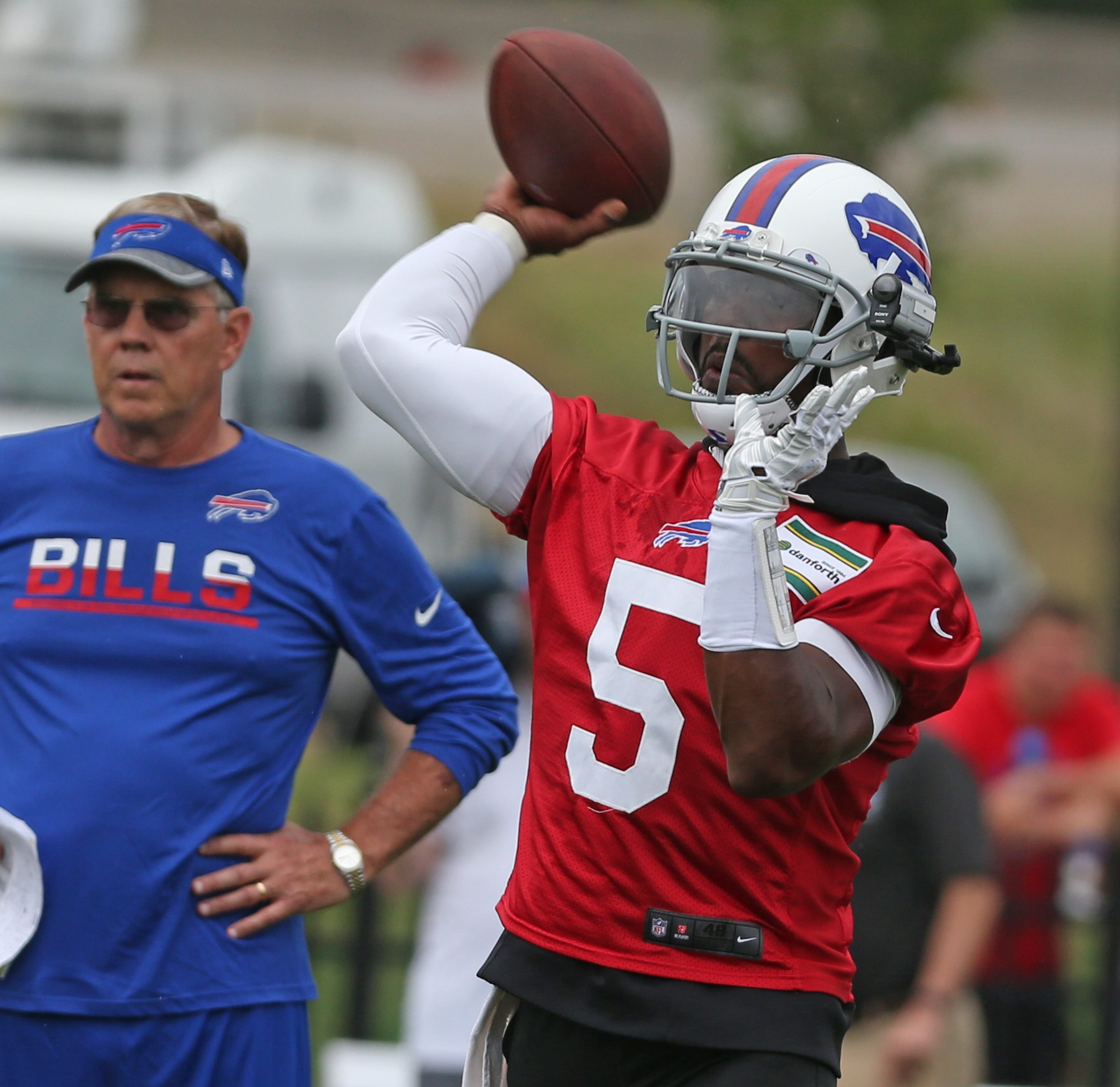Buffalo Bills quarterback Tyrod Taylor (5) throws a pass  during the first day of the 2016 training camp at St. John Fisher College on Saturday.