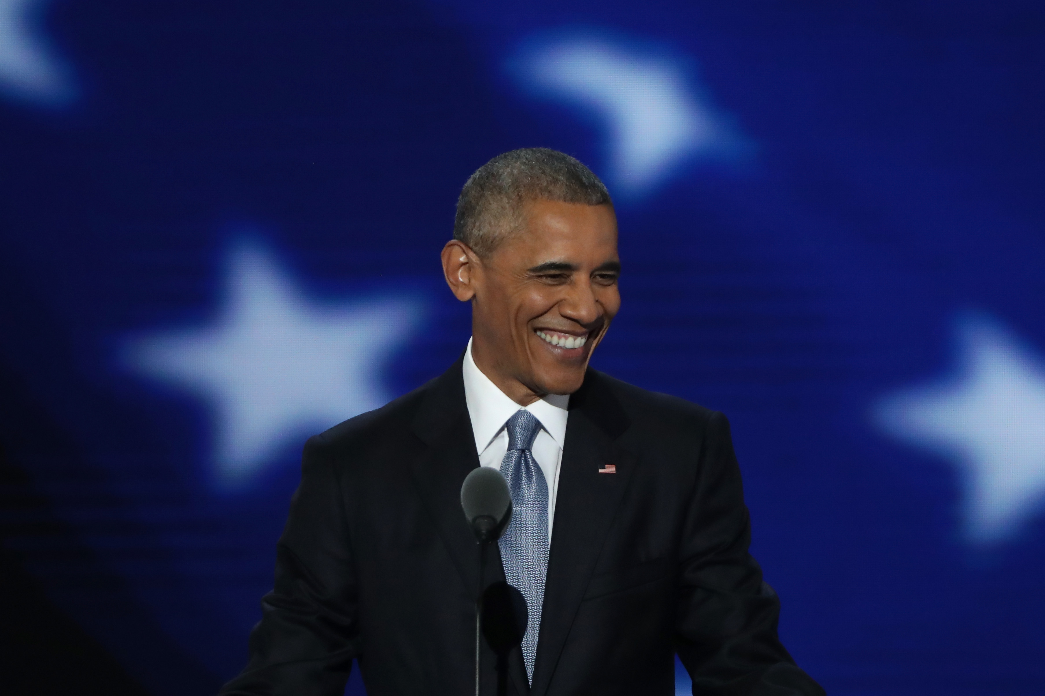 President Barack Obama acknowledges the crowd as he arrives on stage to deliver remarks. (Getty Images)