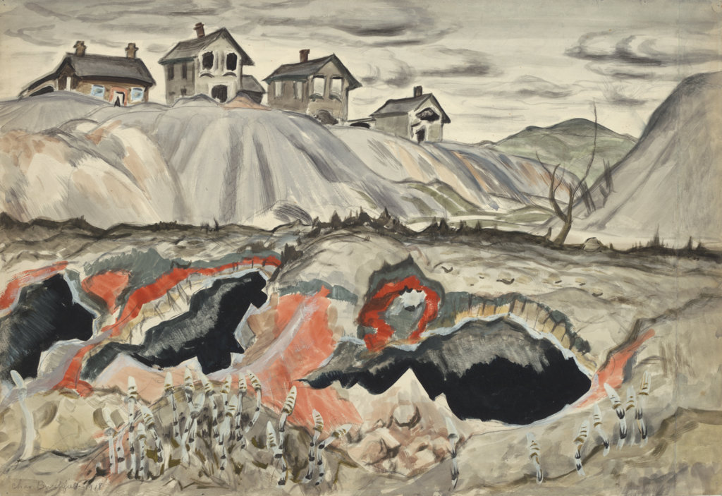 A 1918 painting by Charles E. Burchfield shows abandoned coke ovens in an Ohio factory town.