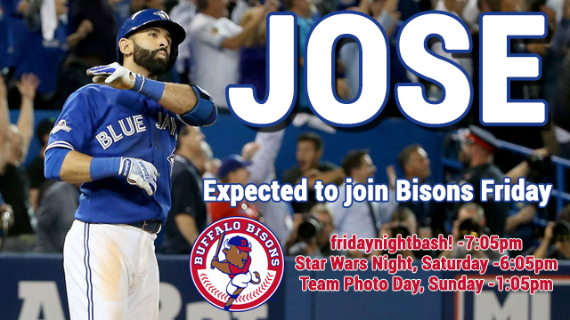 Bisons use 'the bat flip' to promote Jose Bautista's rehab assignment in Buffalo.
